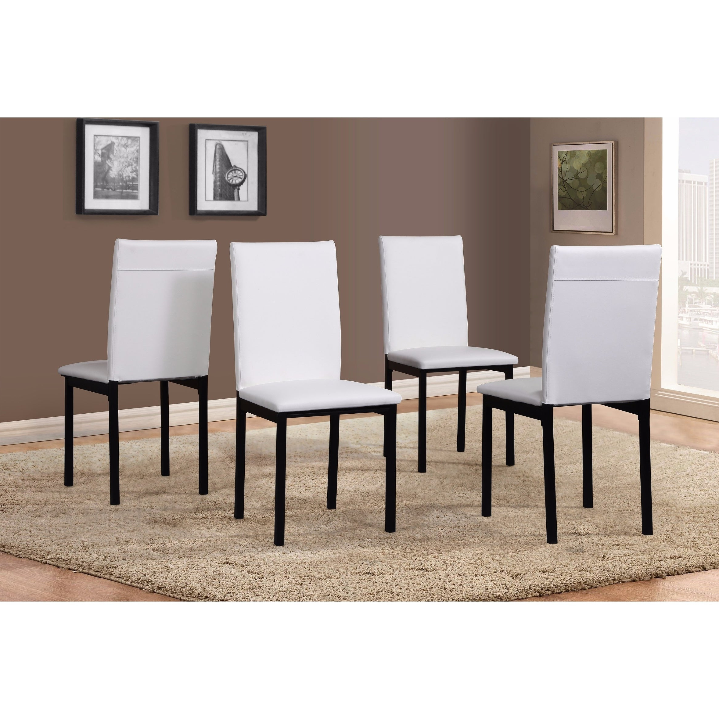 Noyes 5 Piece Dining Sets Intended For 2018 Noyes Faux Leather Seat Metal Frame Black Dining Chairs, Set Of 4 (Gallery 12 of 20)
