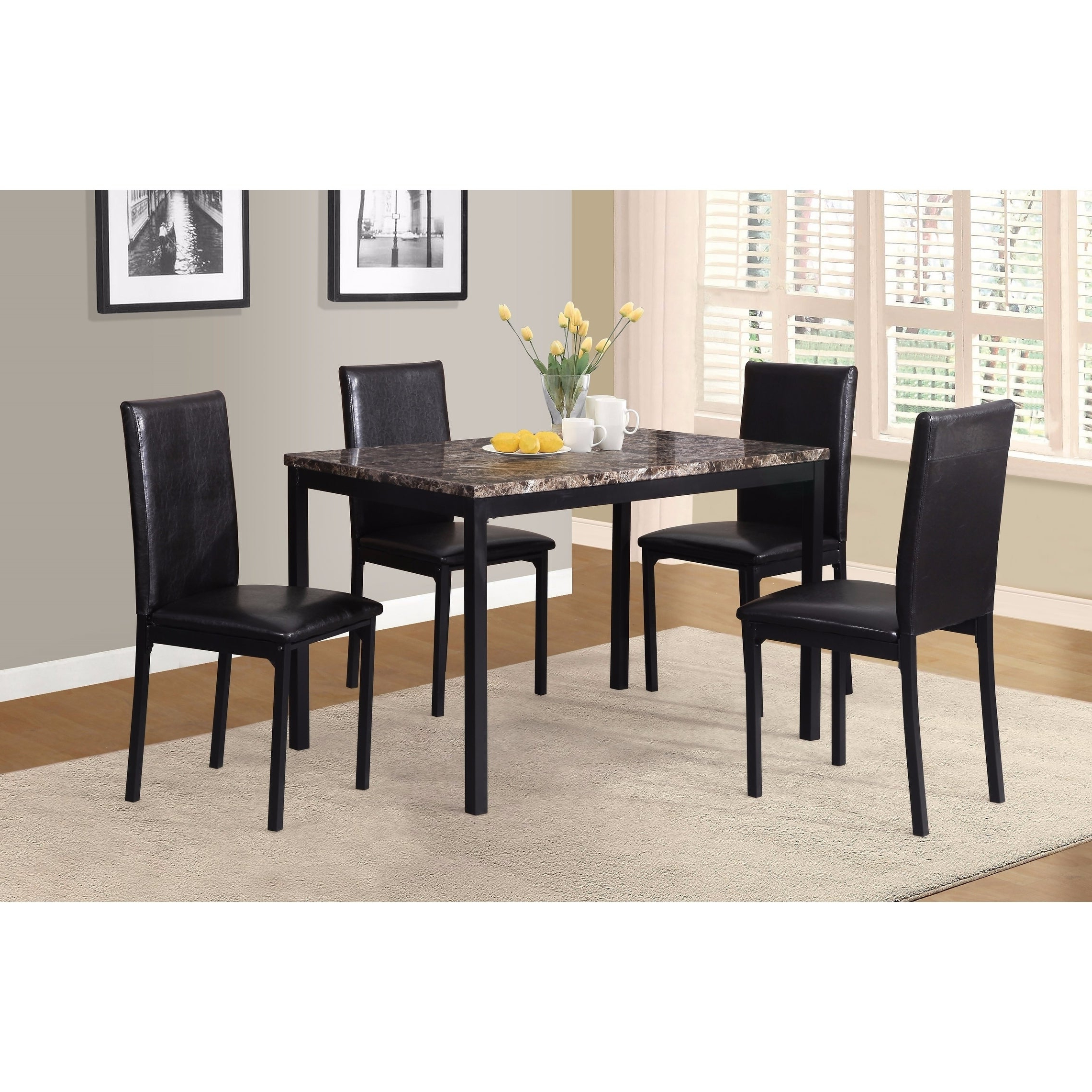 Noyes 5 Piece Dining Sets Within Best And Newest Noyes Metal Dining Table With Laminated Faux Marble Top – Black (Gallery 9 of 20)
