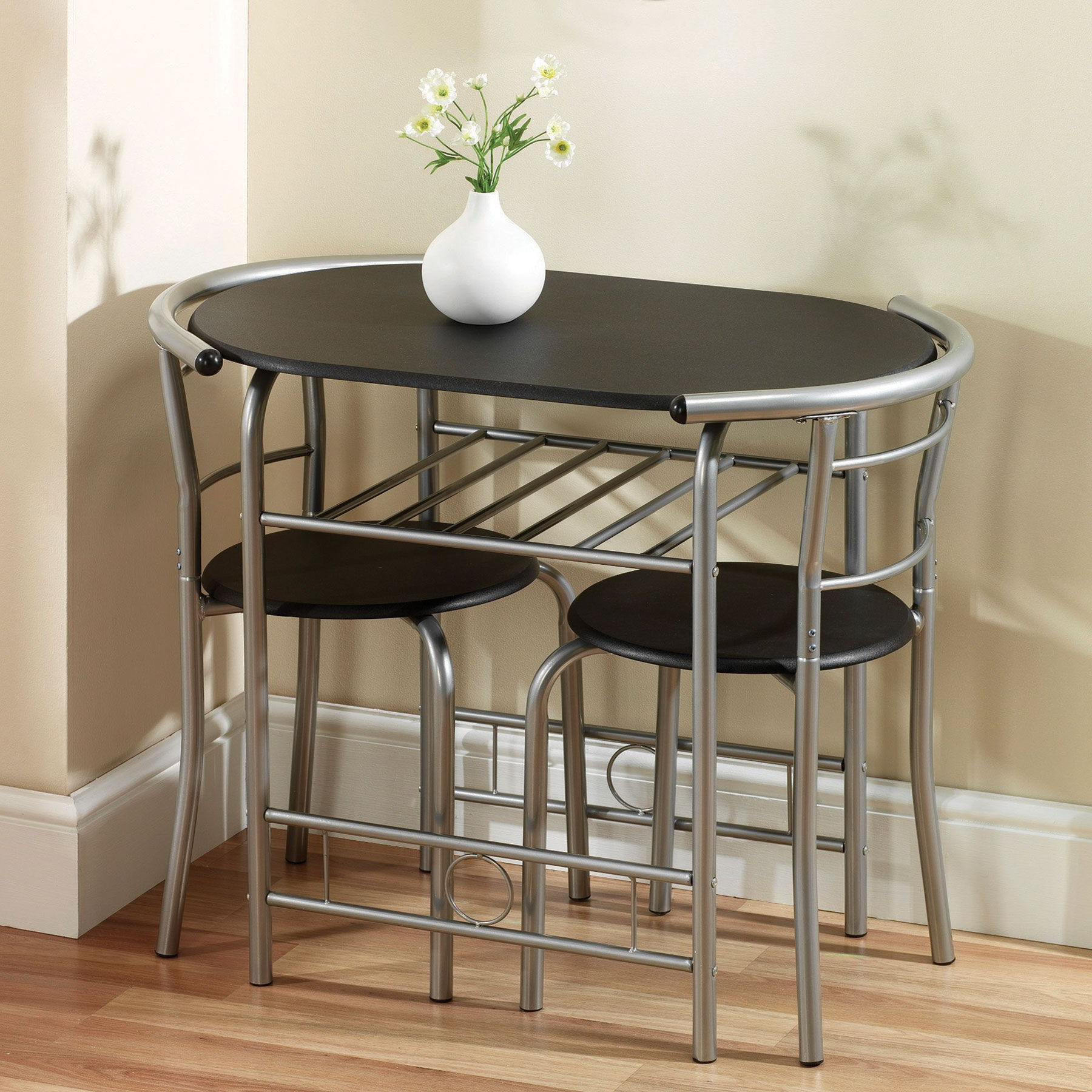 Nutter 3 Piece Dining Sets Throughout Well Known Remarakbale Stainless Steel Space Saving Dining Table And Chairs Set (View 5 of 20)