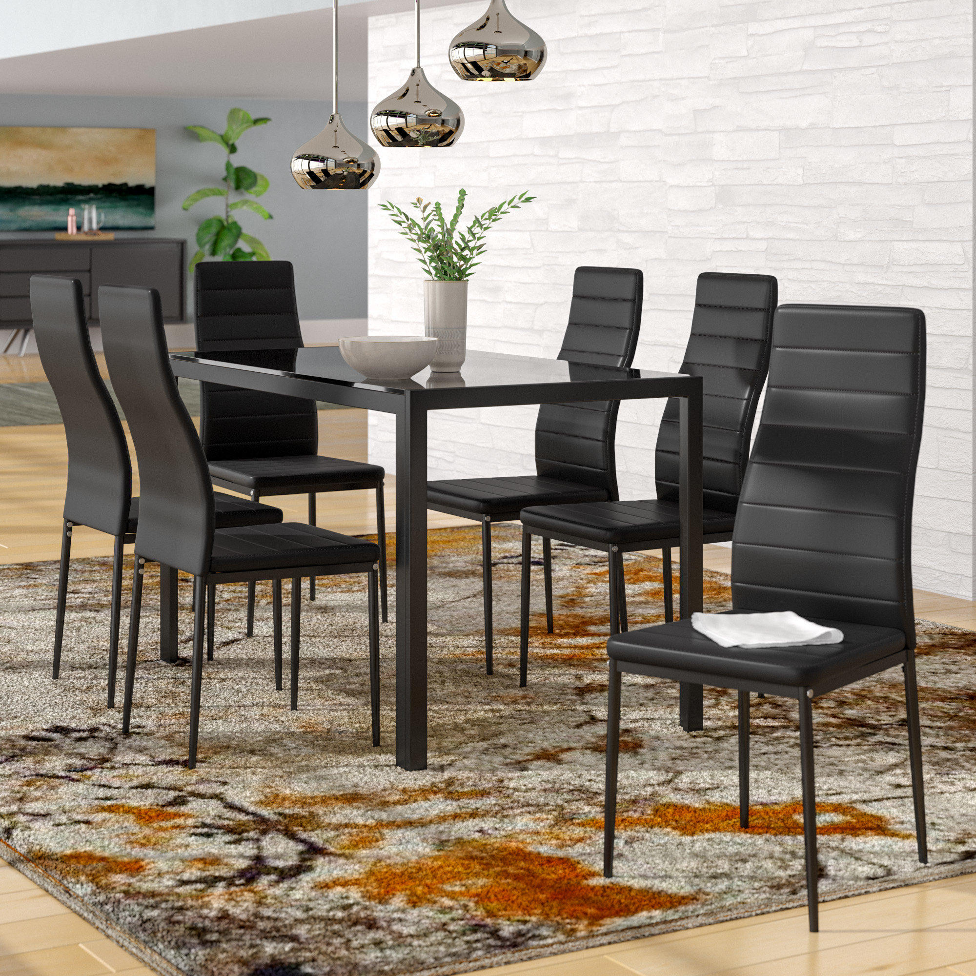 Orren Ellis Renick Modern 7 Piece Dining Set & Reviews Regarding Most Popular Tavarez 5 Piece Dining Sets (Gallery 16 of 20)
