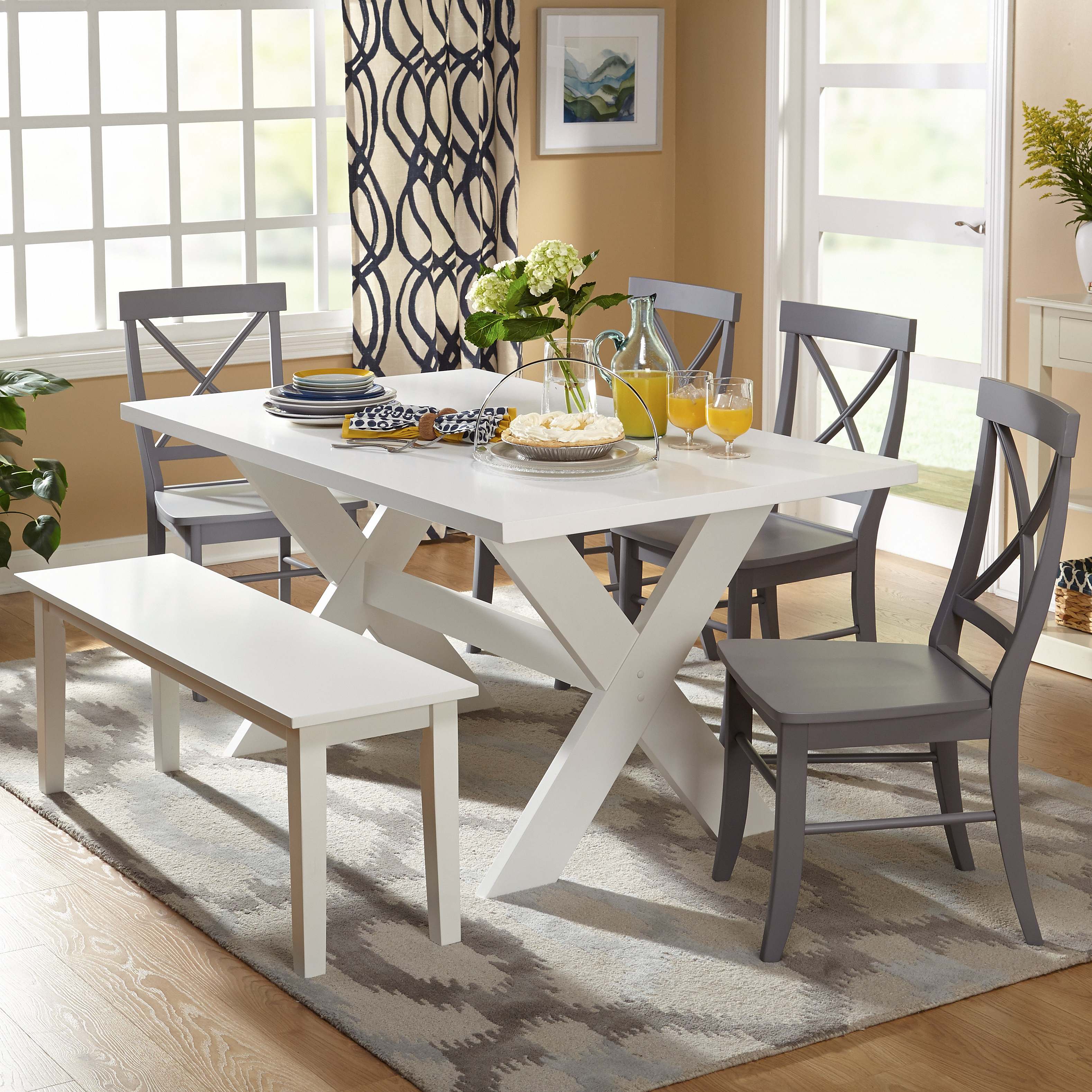 Osterman 6 Piece Extendable Dining Sets (Set Of 6) Intended For Latest Farmhouse & Rustic 6 Piece Dining Sets (View 10 of 20)