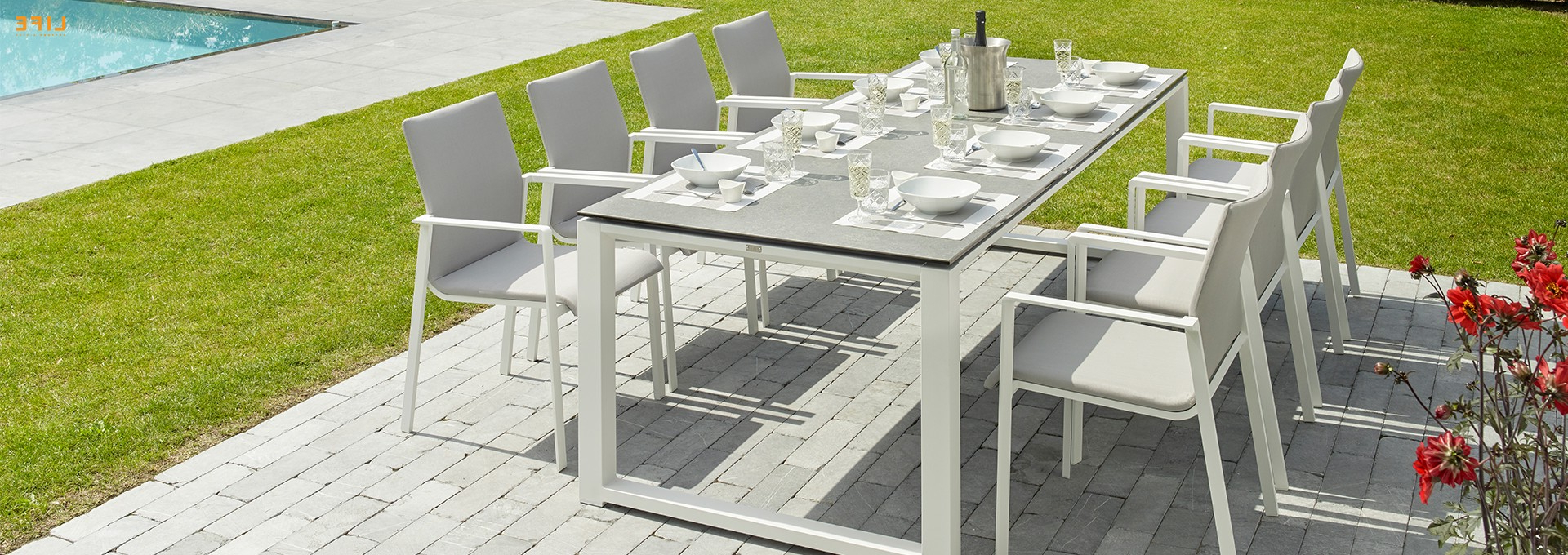 Osterman 6 Piece Extendable Dining Sets (set Of 6) Within Well Known Primavera Dining White – Life Outdoor Living (View 17 of 20)
