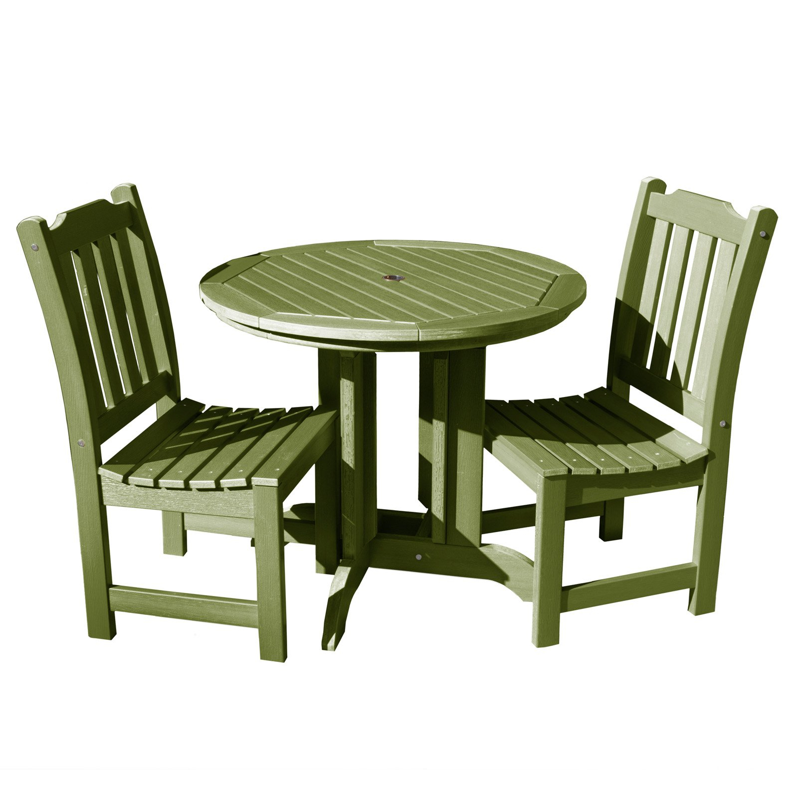 Outdoor Highwood Lehigh Recycled Plastic 3 Piece Round Patio Bistro Inside Famous Saintcroix 3 Piece Dining Sets (Gallery 18 of 20)