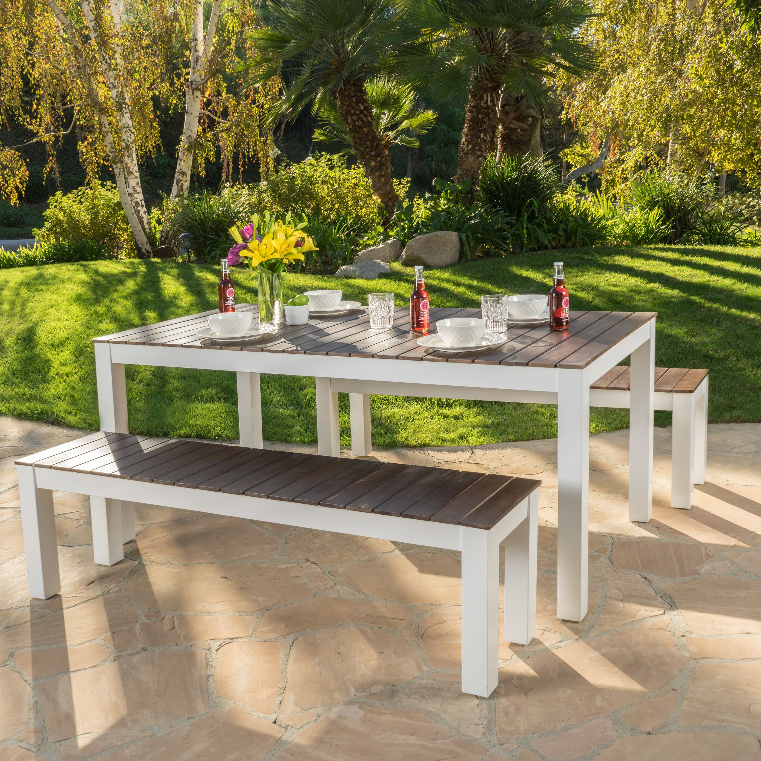 Outdoor Within Favorite Saintcroix 3 Piece Dining Sets (View 13 of 20)