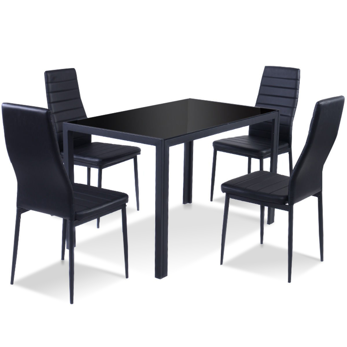 Partin 3 Piece Dining Sets For Most Up To Date 5 Pieces Metal Frame And Glass Tabletop Dining Set (View 7 of 20)