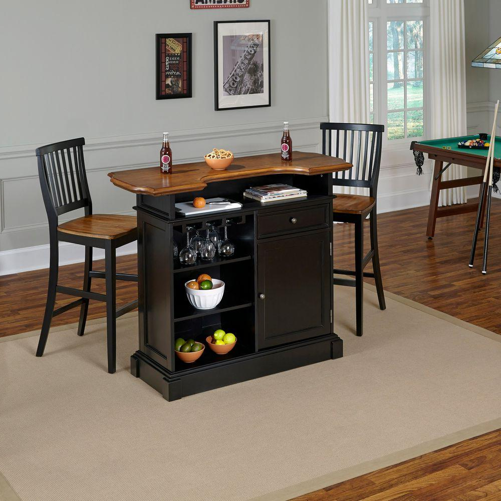 Partin 3 Piece Dining Sets In Popular Americana 3 Piece Black And Oak Bar Table Set (View 13 of 20)