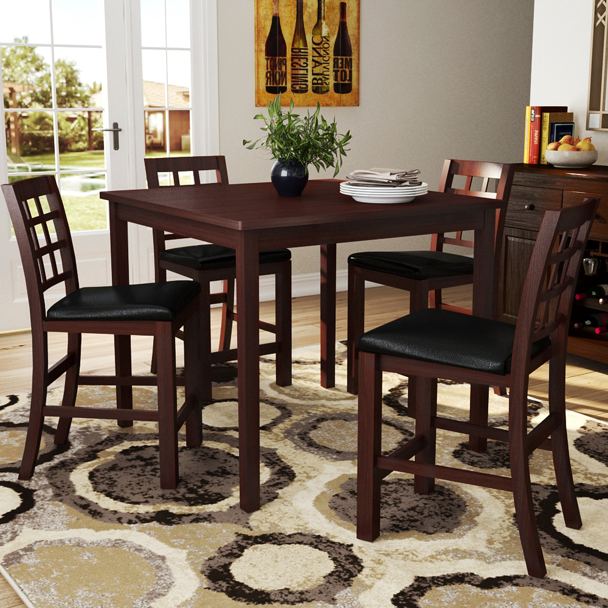 Penelope 3 Piece Counter Height Wood Dining Sets With Most Recently Released Plymouth 5 Piece Counter Height Dining Set (View 16 of 20)