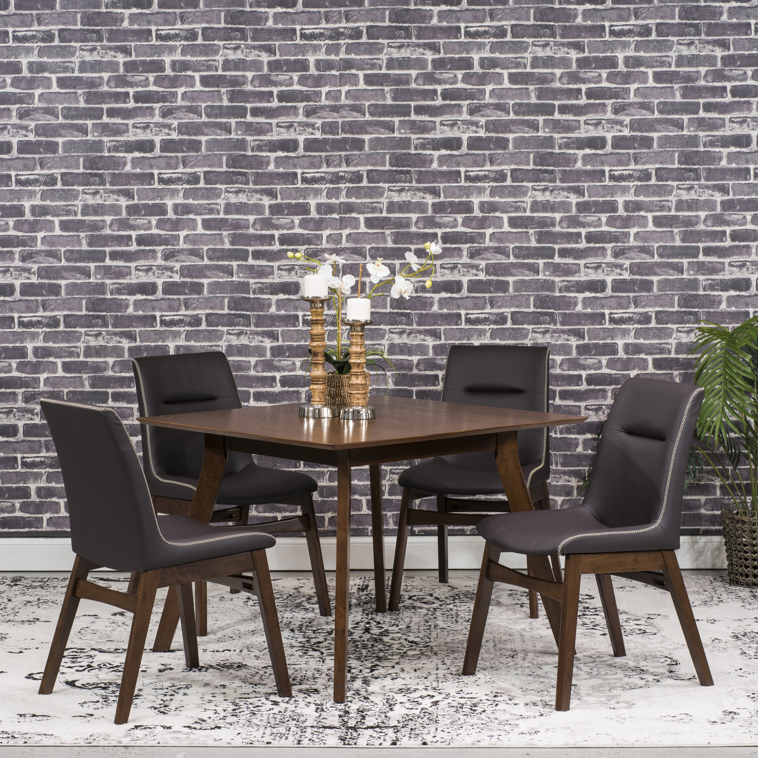 Phyllis 5 Piece Dining Set Intended For Preferred Amir 5 Piece Solid Wood Dining Sets (Set Of 5) (View 18 of 20)