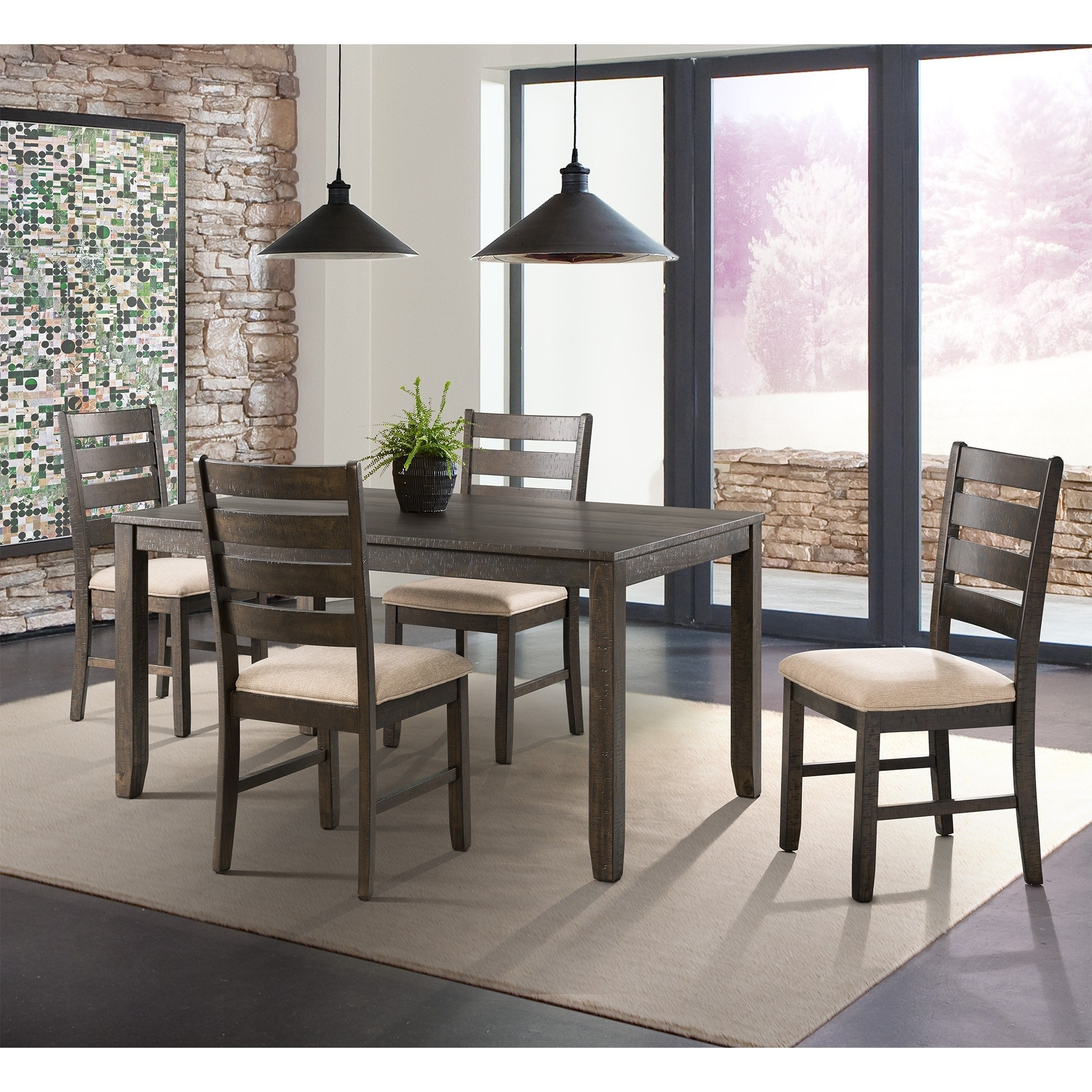 Picket House Powell 5 Piece Walnut Finish Dining Set, Brown Intended For Most Up To Date Casiano 5 Piece Dining Sets (View 7 of 20)