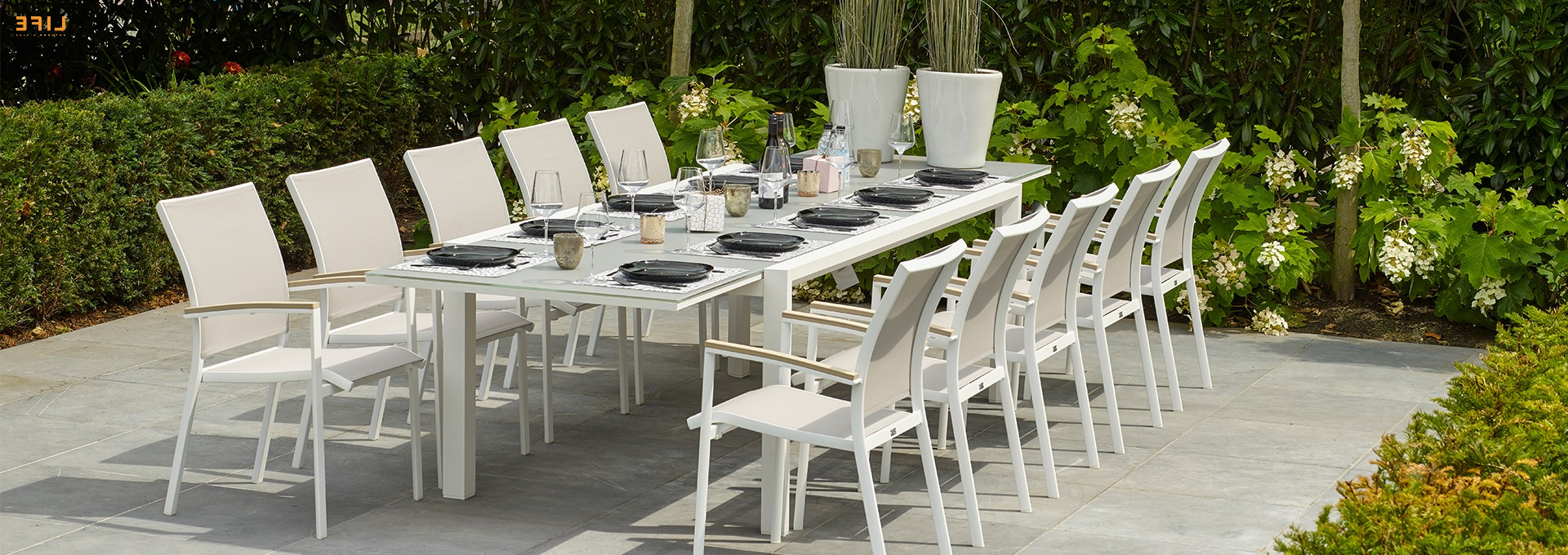 Popular Anabel Dining Extendable White – Life Outdoor Living With Osterman 6 Piece Extendable Dining Sets (Set Of 6) (View 13 of 20)