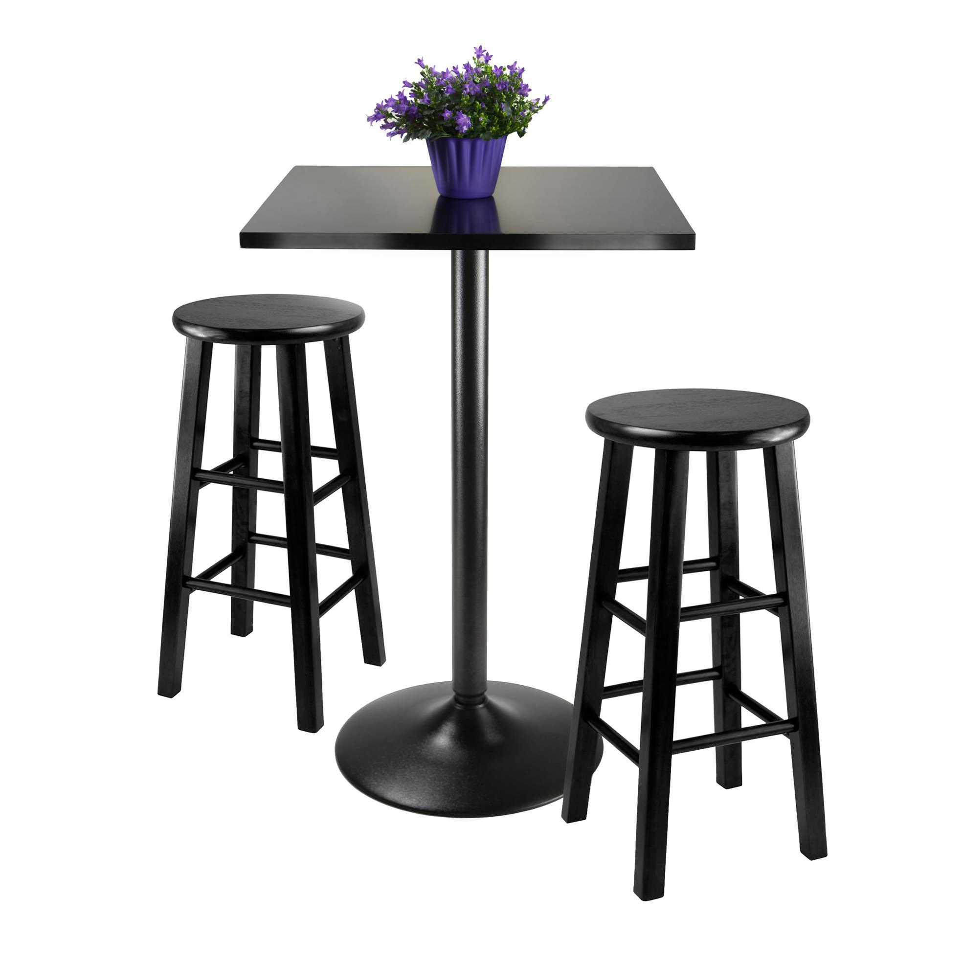 Popular Crownover 3 Piece Bar Table Sets Regarding Winsome Obsidian 3 Piece Pub Table Set (View 14 of 20)