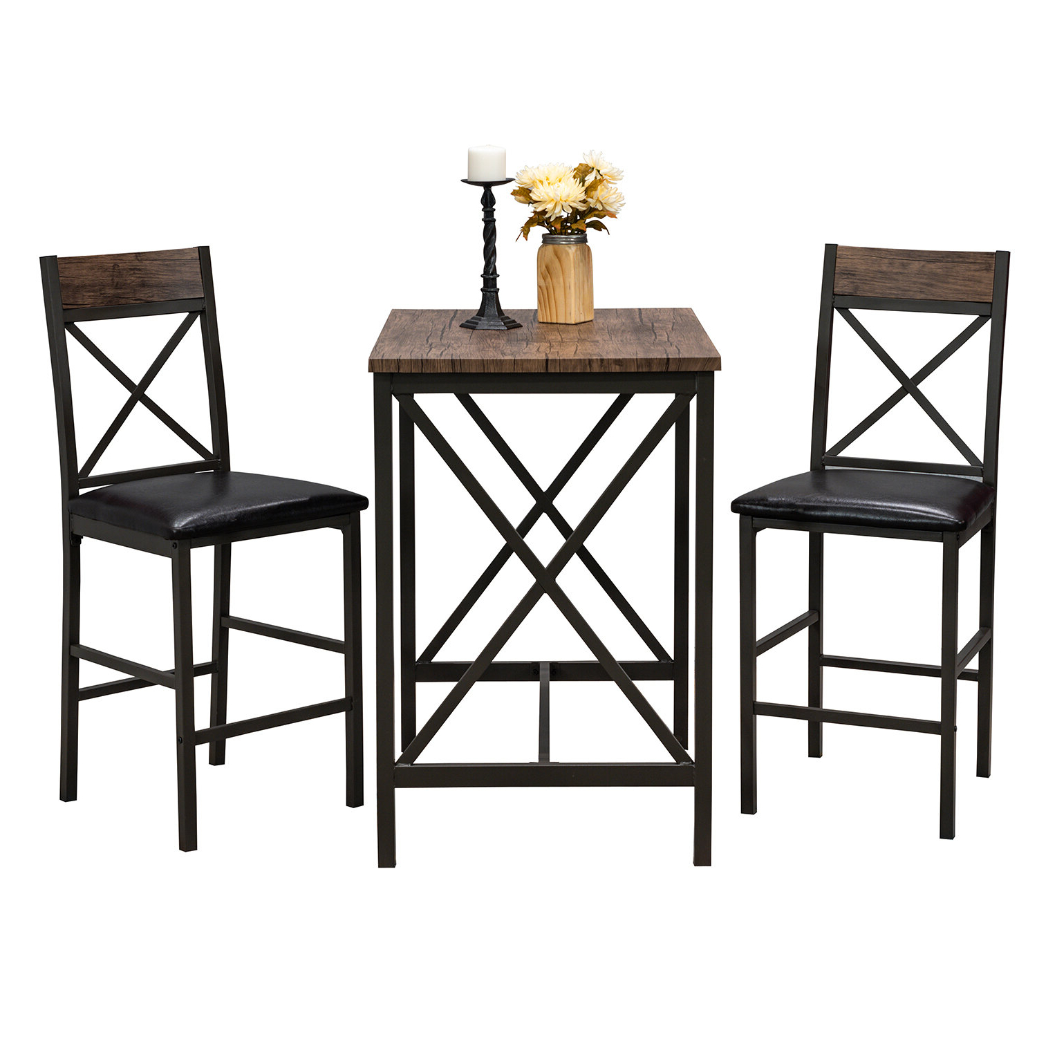 Popular Millwood Pines Losada 3 Piece Pub Table Set Throughout Wallflower 3 Piece Dining Sets (View 12 of 20)