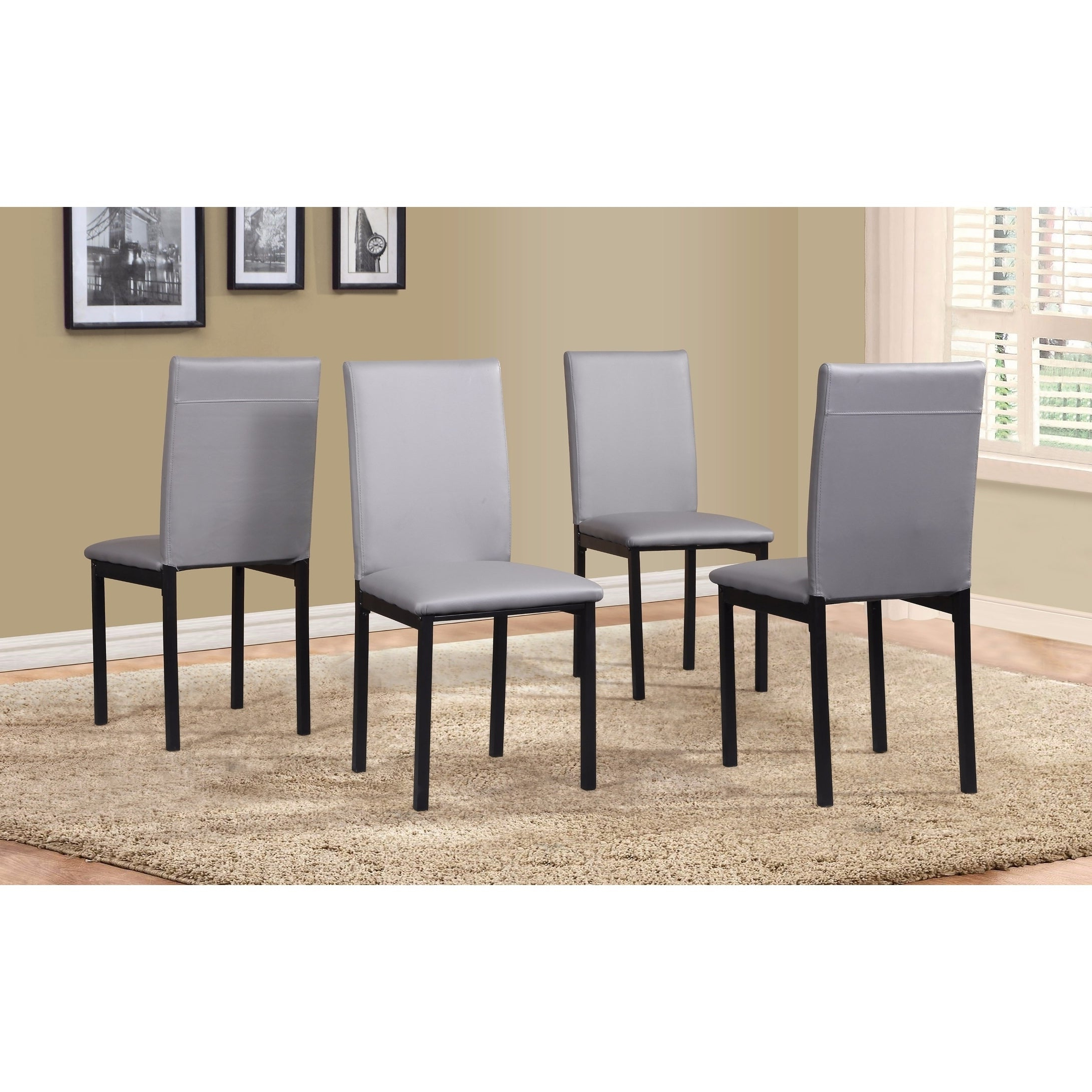 Popular Noyes Faux Leather Seat Metal Frame Black Dining Chairs, Set Of 4 Pertaining To Noyes 5 Piece Dining Sets (View 15 of 20)