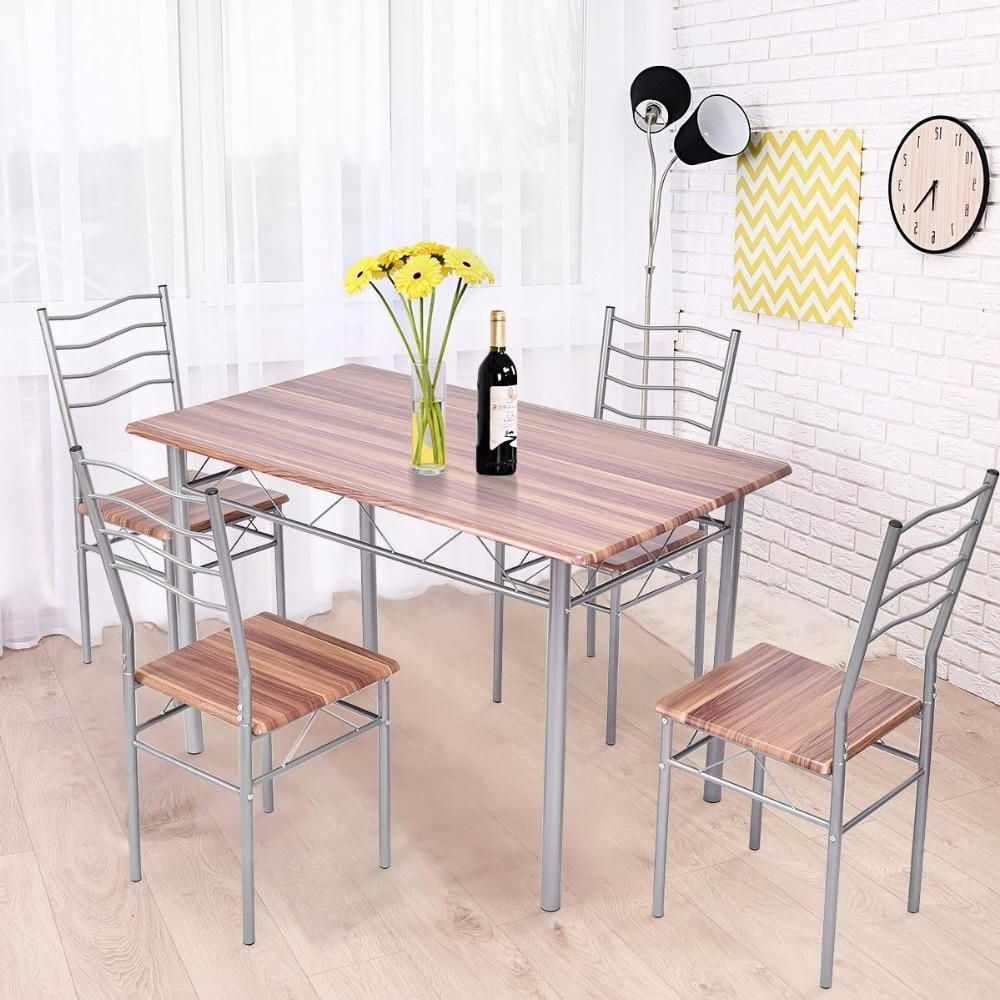 Popular Tarleton 5 Piece Dining Sets In 5 Piece Dining Set Wood Metal Table And 4 Chairs Kitchen Modern (View 6 of 20)