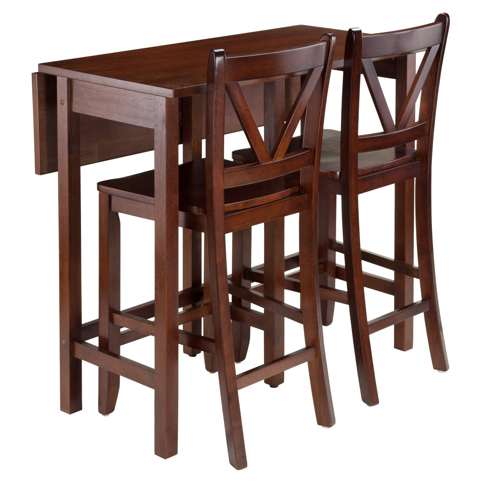 Popular Winsome Trading Lynnwood 3 Piece Counter Height Dining Table Set Throughout Bettencourt 3 Piece Counter Height Solid Wood Dining Sets (View 16 of 20)