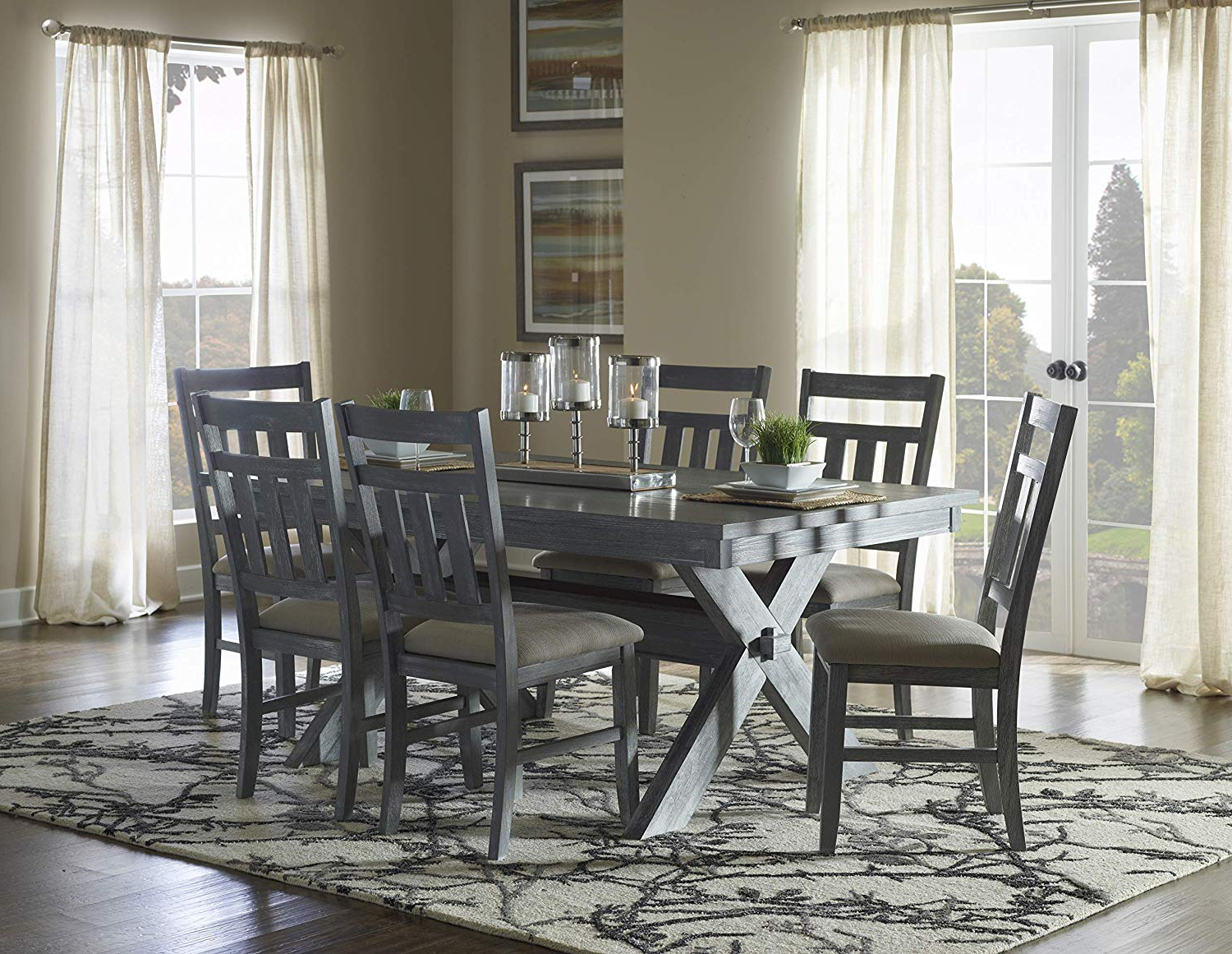 Powell 457 417m2 Turino Dining Set, Grey Oak Finish Intended For Most Recently Released Evellen 5 Piece Solid Wood Dining Sets (set Of 5) (View 15 of 20)
