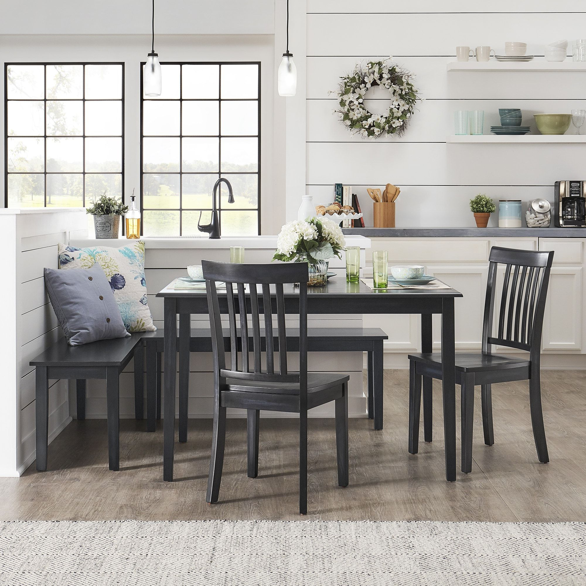 Preferred 5 Piece Breakfast Nook Dining Sets With Regard To Wilmington Ii Rectangular Antique Dark Denim Breakfast Nook Set (View 15 of 20)