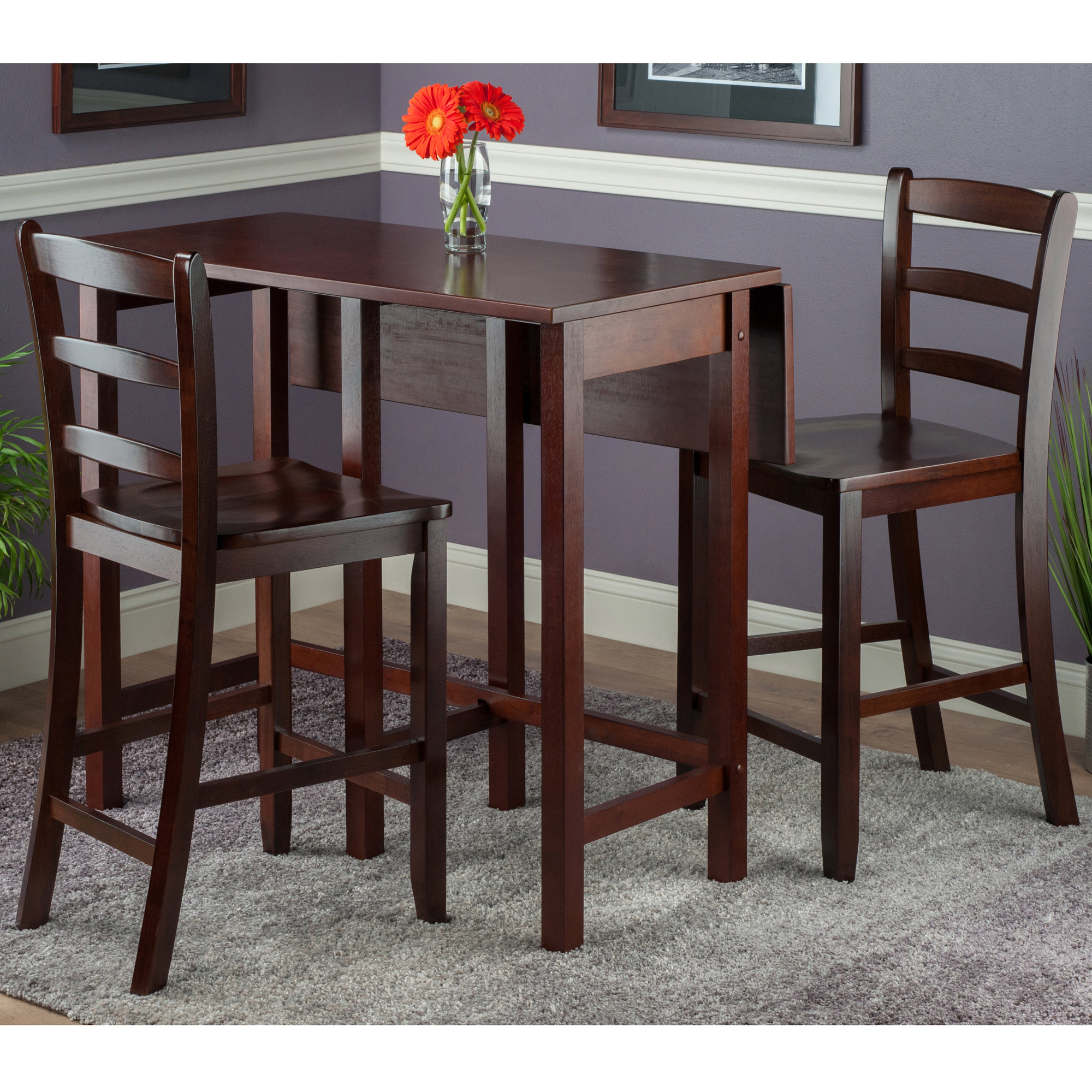 Preferred Bettencourt 3 Piece Drop Leaf Dining Set For Bettencourt 3 Piece Counter Height Solid Wood Dining Sets (View 17 of 20)