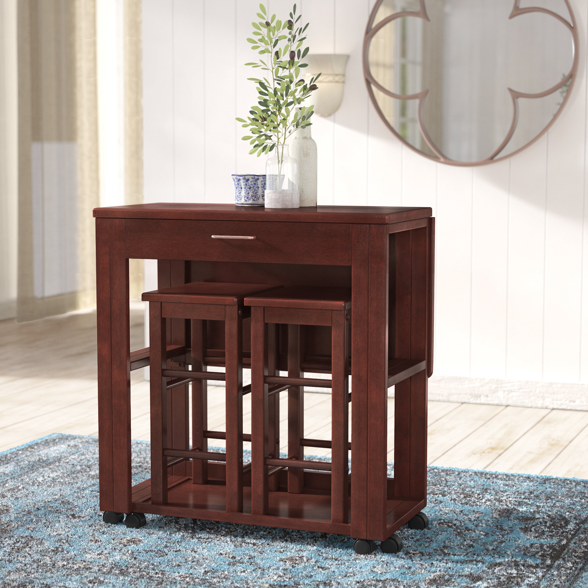 Preferred Crownover 3 Piece Bar Table Set Intended For Poynter 3 Piece Drop Leaf Dining Sets (View 14 of 20)