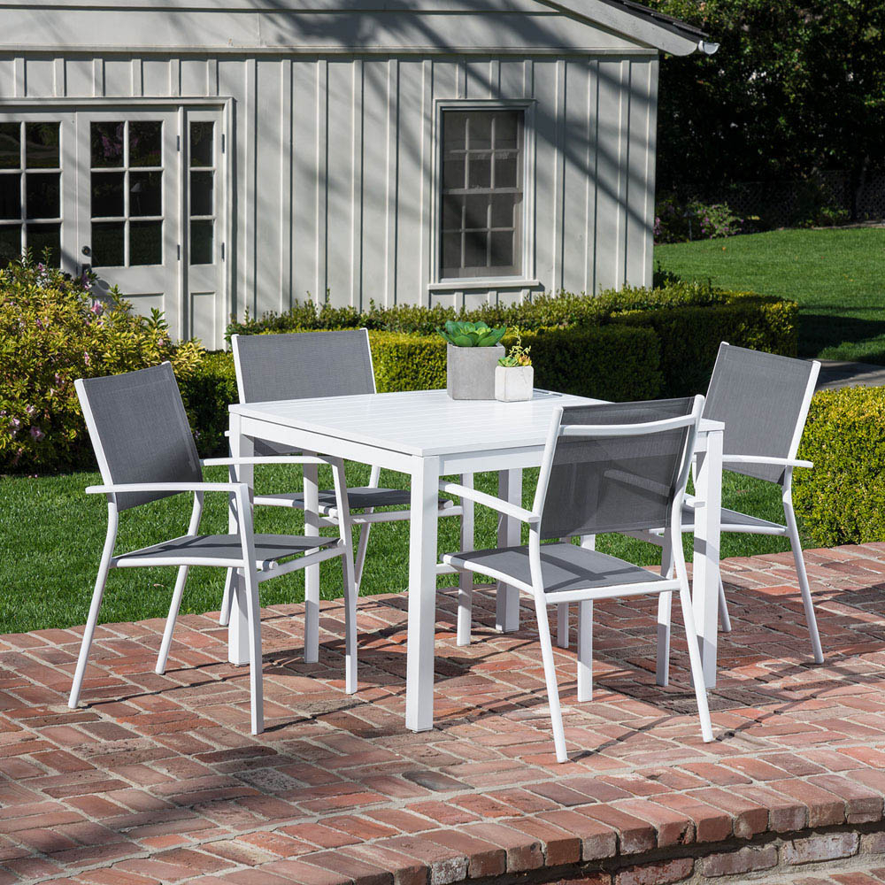 Preferred Hanover Del Mar 5 Piece Outdoor Dining Set With 4 Sling Arm Chairs And A 38 Regarding Delmar 5 Piece Dining Sets (View 11 of 20)
