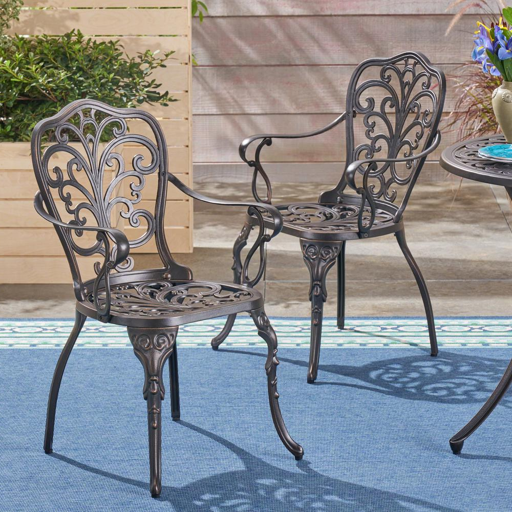 Preferred Kaya 3 Piece Dining Sets Intended For Noble House Kaya Shiny Copper Stationary Cast Aluminum Outdoor Dining Chair  (2 Pack) (View 16 of 20)