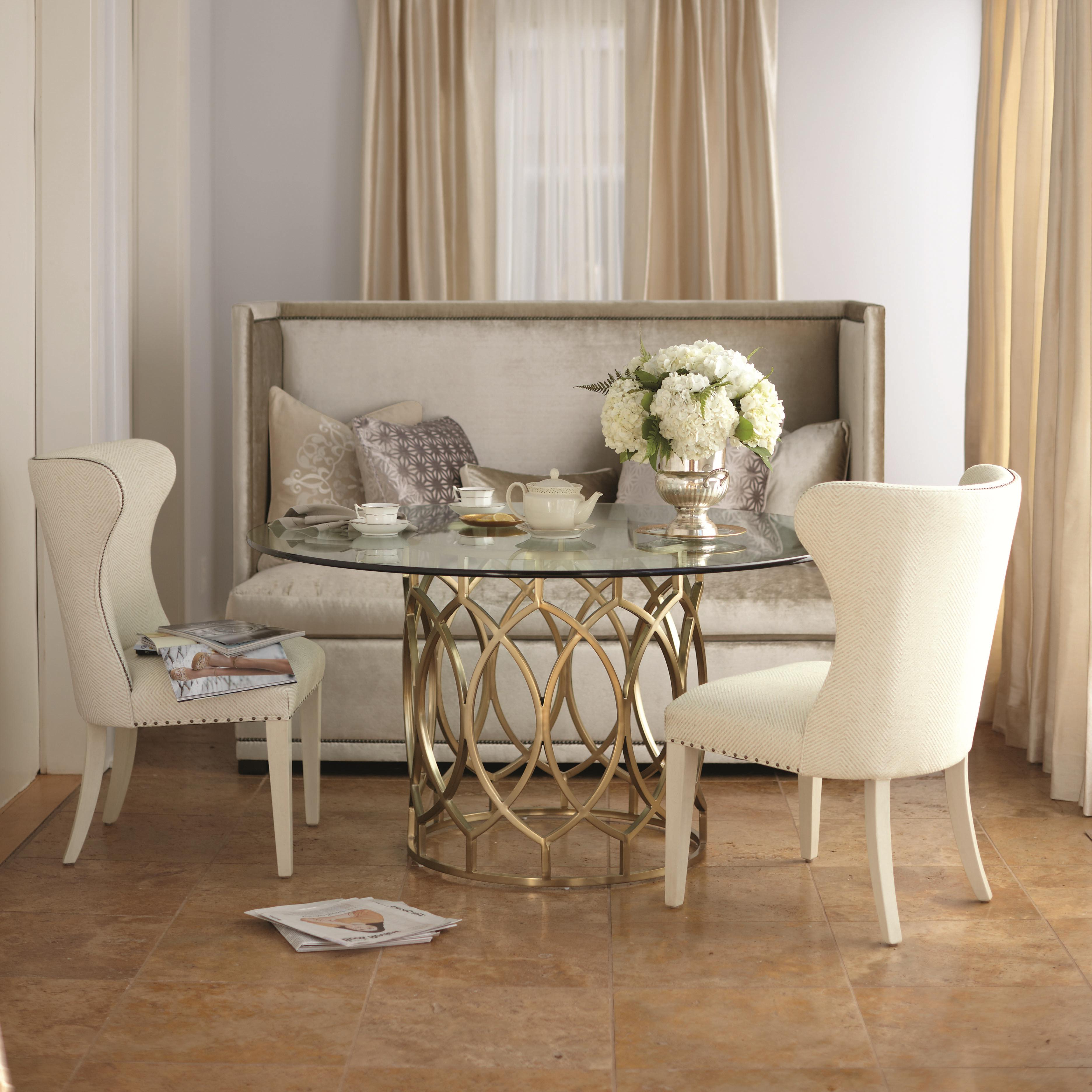 Preferred Salon 3 Piece Dining Set With Round Glass Top Tablebernhardt At Dunk & Bright Furniture With 3 Piece Dining Sets (View 5 of 20)