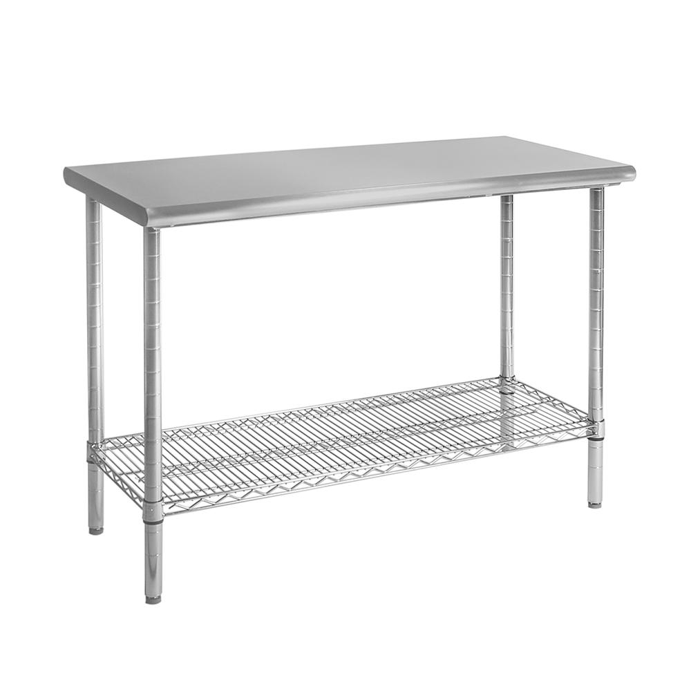 Preferred Seville Classics 49 In X 24 In Commercial Nsf Stainless Steel Top Throughout Presson 3 Piece Counter Height Dining Sets (View 12 of 20)