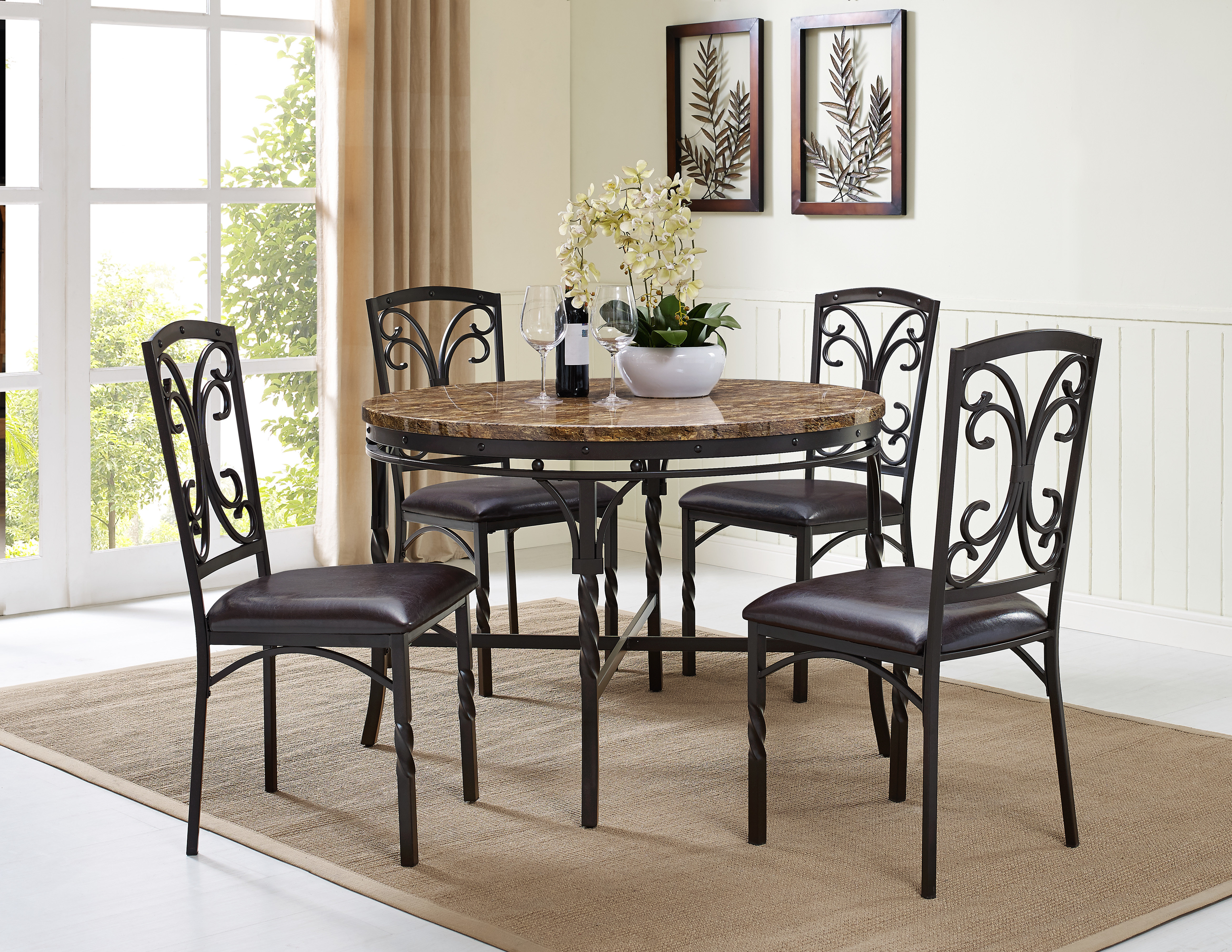 Preferred Vaughan 5 Piece Dining Table Set Pertaining To Queener 5 Piece Dining Sets (View 3 of 20)
