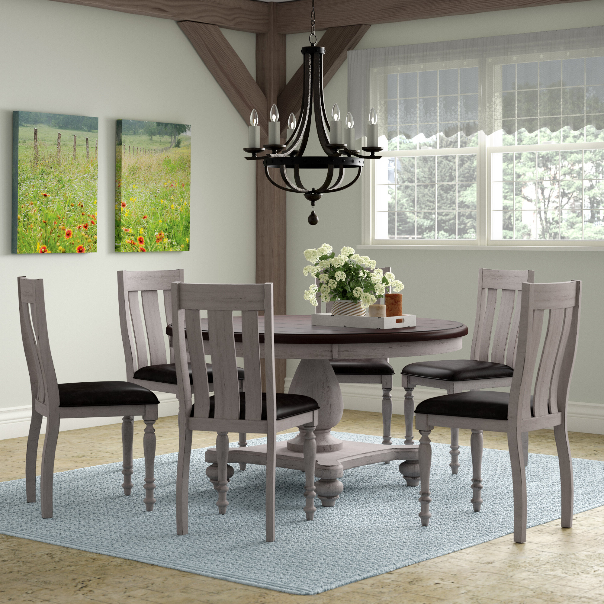 Queener 5 Piece Dining Sets Inside Well Liked Mixon 7 Piece Solid Wood Dining Set (View 5 of 20)