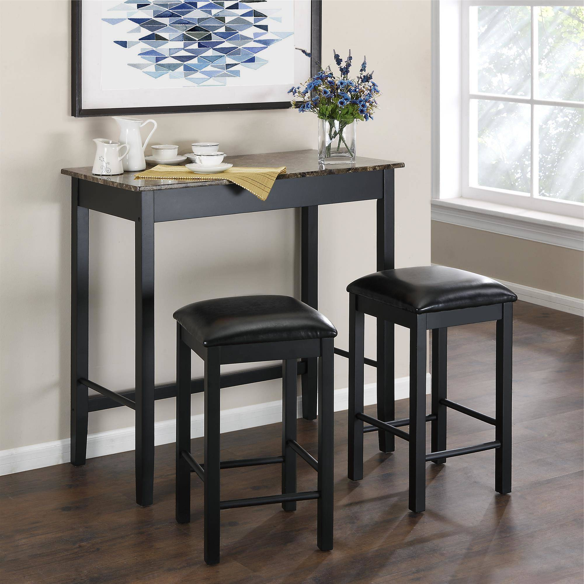 Recent 3 Piece Breakfast Dining Sets In Dorel Living Devyn 3 Piece Faux Marble Pub Dining Set, Black (View 14 of 20)