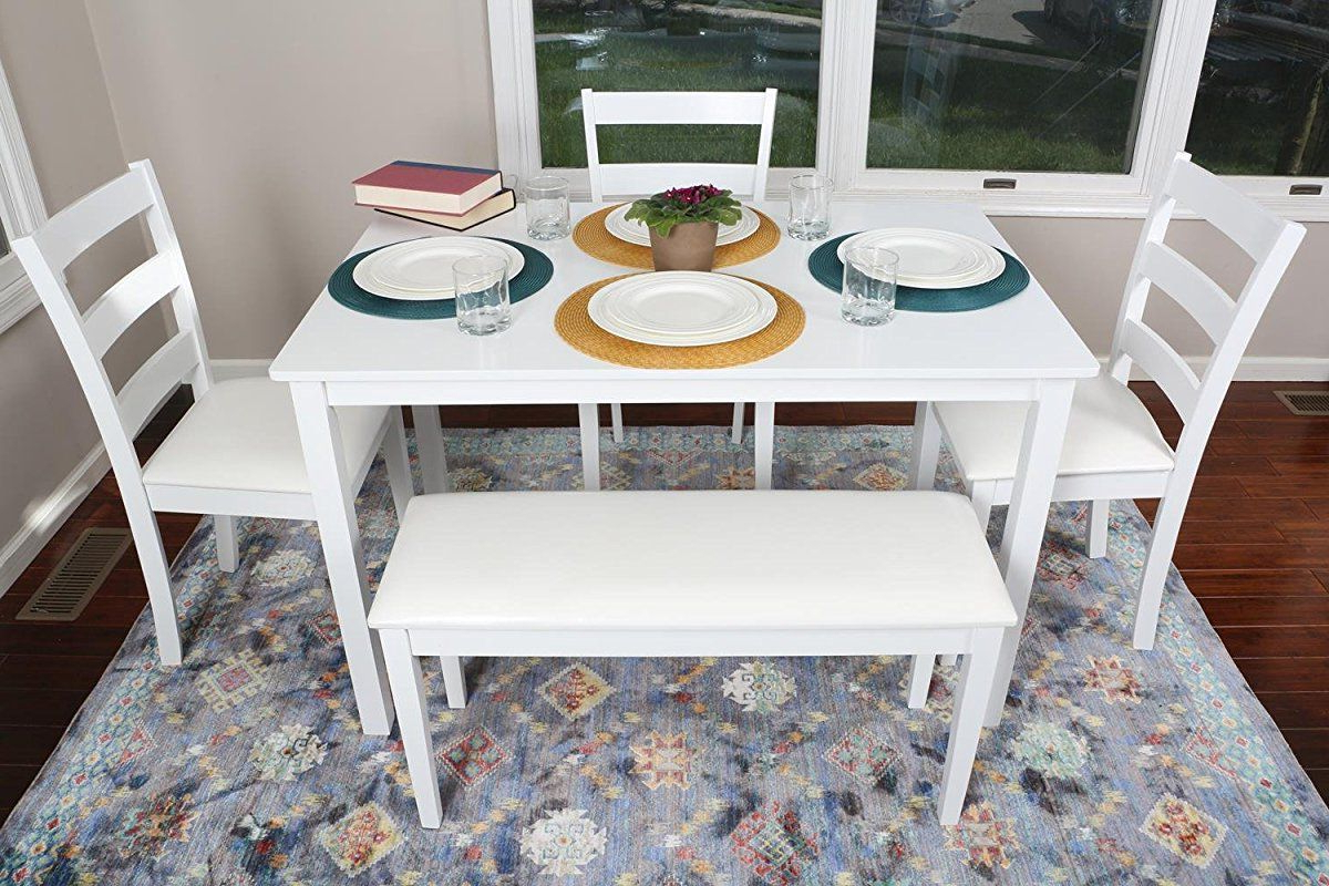 Recent 4 Person – 5 Piece Kitchen Dining Table Set – 1 Table, 3 Leather In Ephraim 5 Piece Dining Sets (View 8 of 20)