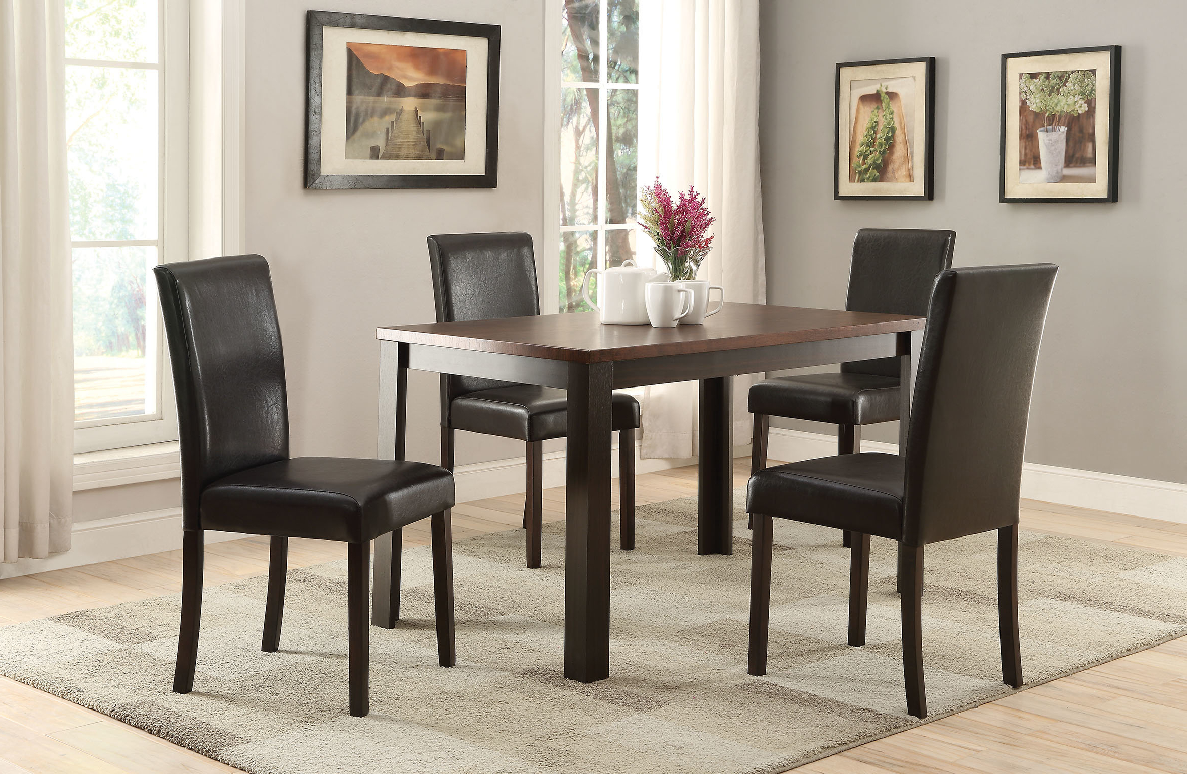Recent Baillie 3 Piece Dining Sets Throughout Elsaid 5 Piece Dining Set (Gallery 16 of 20)
