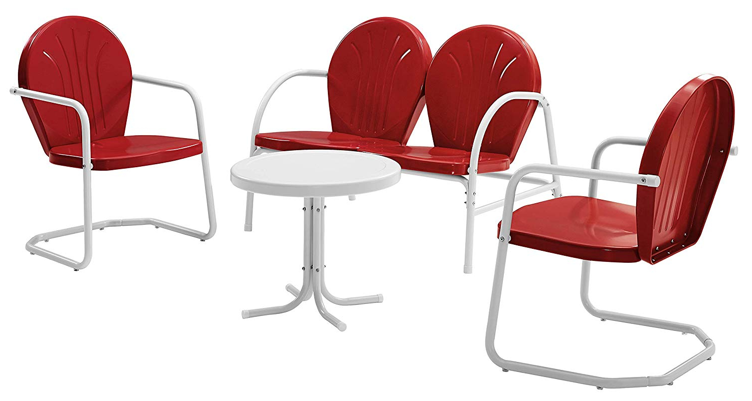 Recent Bate Red Retro 3 Piece Dining Sets In Crosley Furniture Griffith 4 Piece Metal Outdoor Conversation Set With  Table, Loveseat, And 2 Chairs – Red (Gallery 3 of 20)