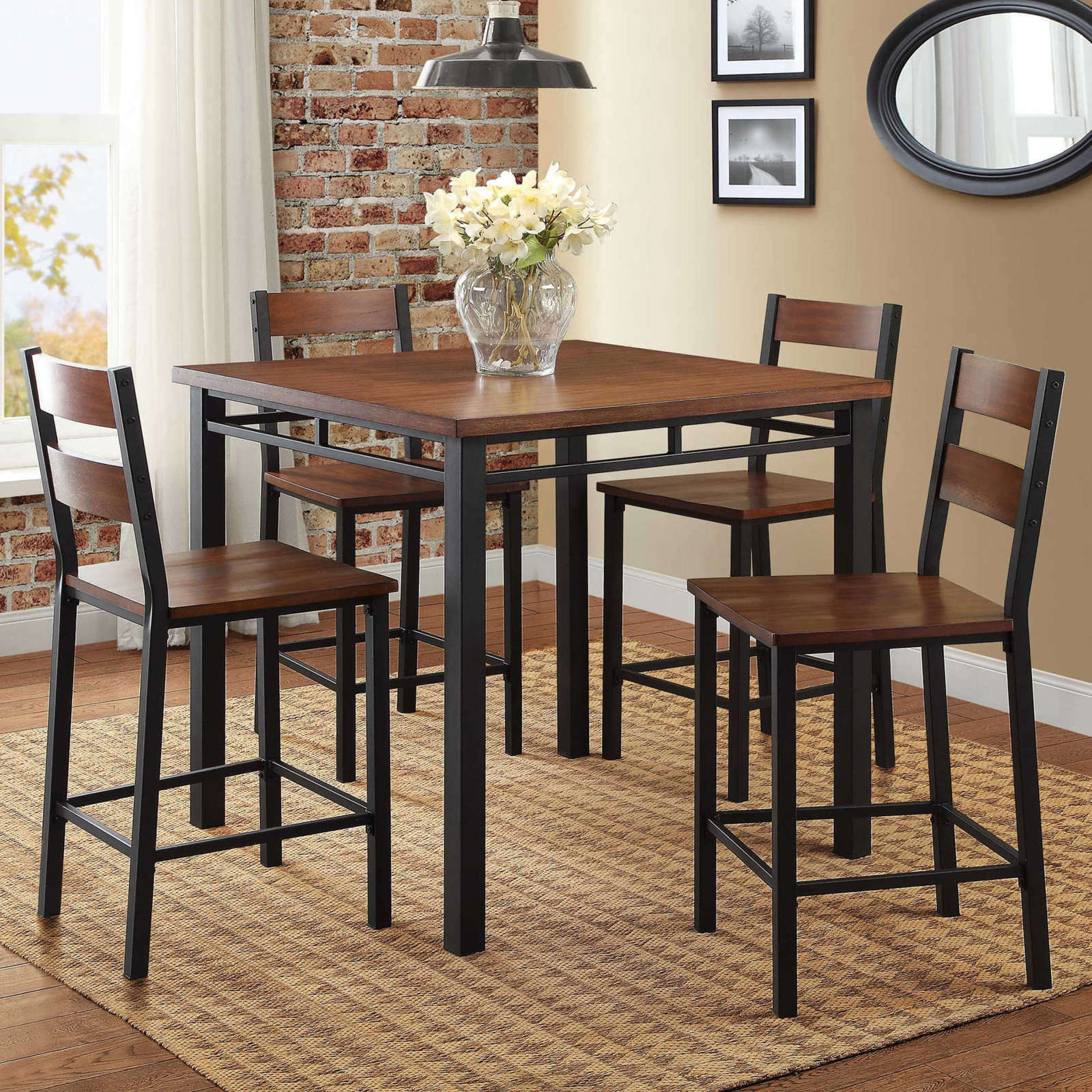 Recent Details About 5 Piece Counter Height Dining Set 4 Chairs Table Kitchen  Breakfast Nook Brown Within 5 Piece Breakfast Nook Dining Sets (View 16 of 20)