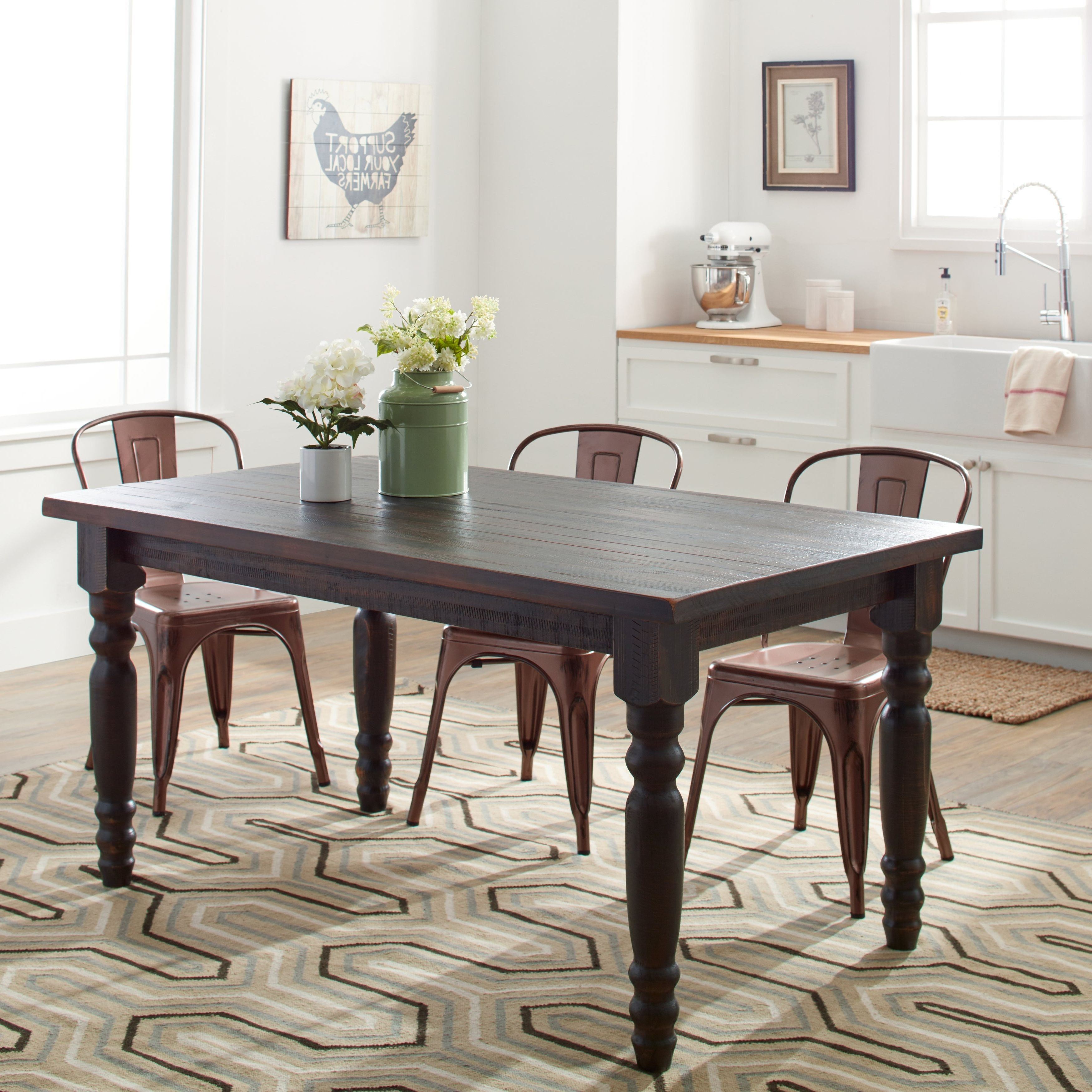Recent Evellen 5 Piece Solid Wood Dining Sets (Set Of 5) In Grain Wood Furniture Valerie 63 Inch Solid Wood Dining Table (Gallery 16 of 20)