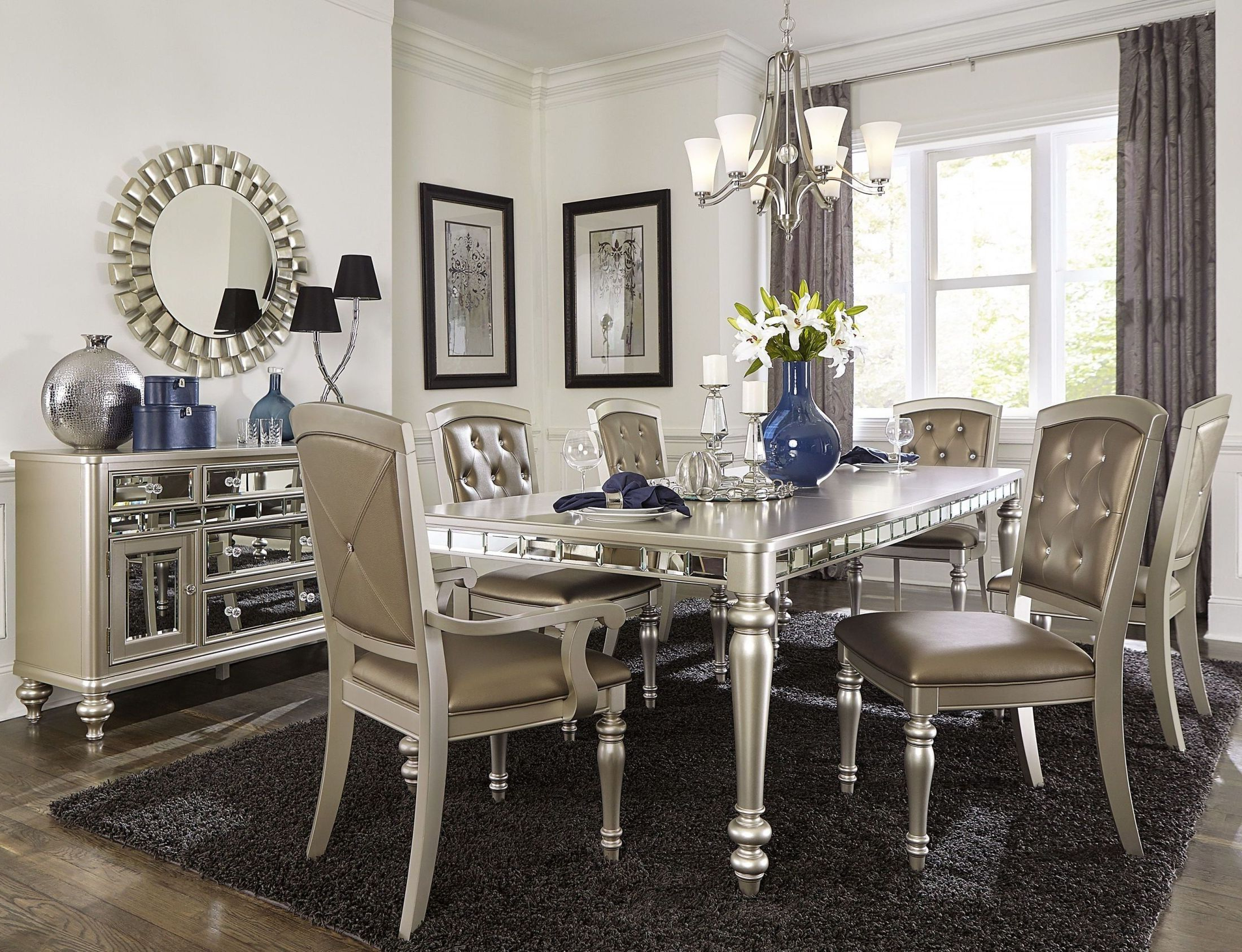 Recent Orsina Silver Extendable Dining Room Set In  (View 17 of 20)