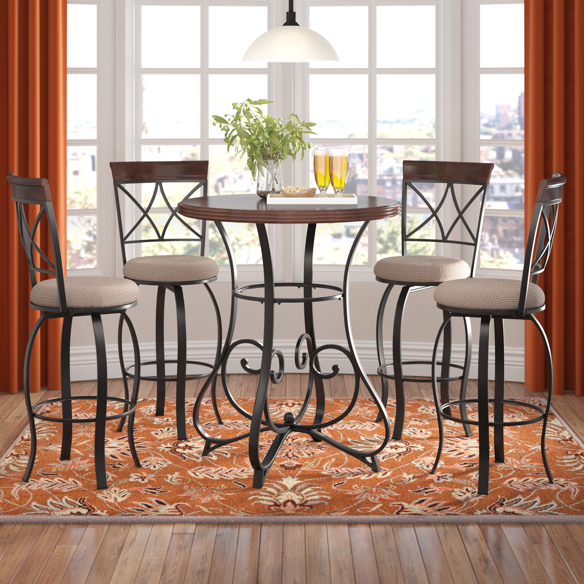 Red Barrel Studio Villeda 5 Piece Pub Table Set With Regard To Fashionable Biggs 5 Piece Counter Height Solid Wood Dining Sets (Set Of 5) (View 16 of 20)