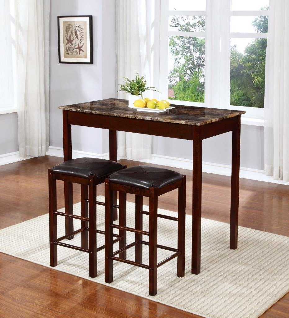 Rockford 3 Piece Faux Marble Counter Height Pub Table Set For Favorite Penelope 3 Piece Counter Height Wood Dining Sets (Gallery 13 of 20)
