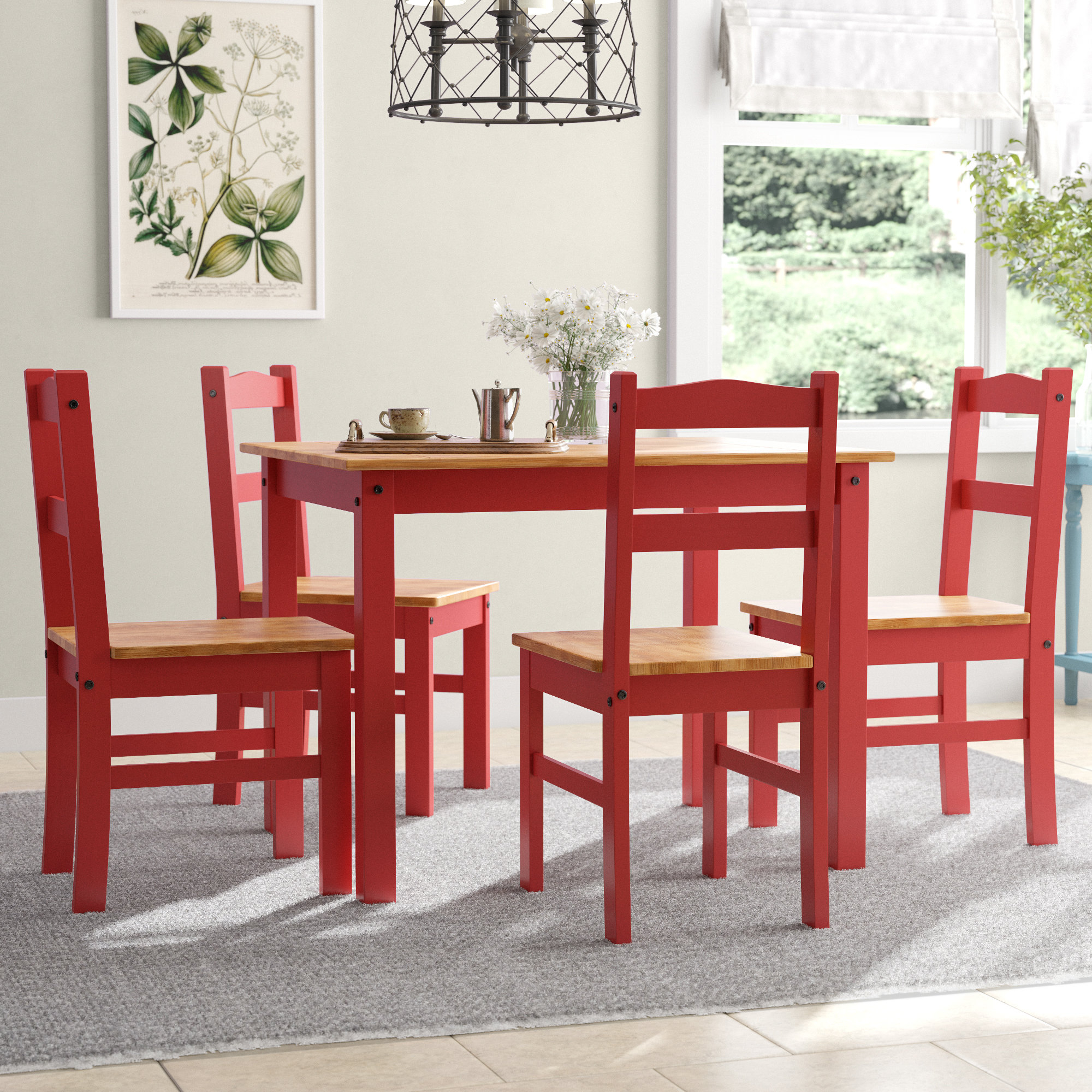 Rodgers 5 Piece Solid Wood Dining Set Throughout Most Up To Date Yedinak 5 Piece Solid Wood Dining Sets (View 12 of 20)
