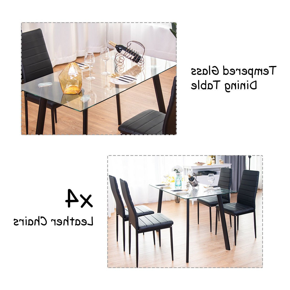 Rossi 5 Piece Dining Sets Pertaining To Fashionable Tangkula 5 Pcs Dining Table Set Modern Tempered Glass Top And Pvc Leather  Chair W/4 Chairs Dining Room Kitchen Furniture (Black) (View 14 of 20)