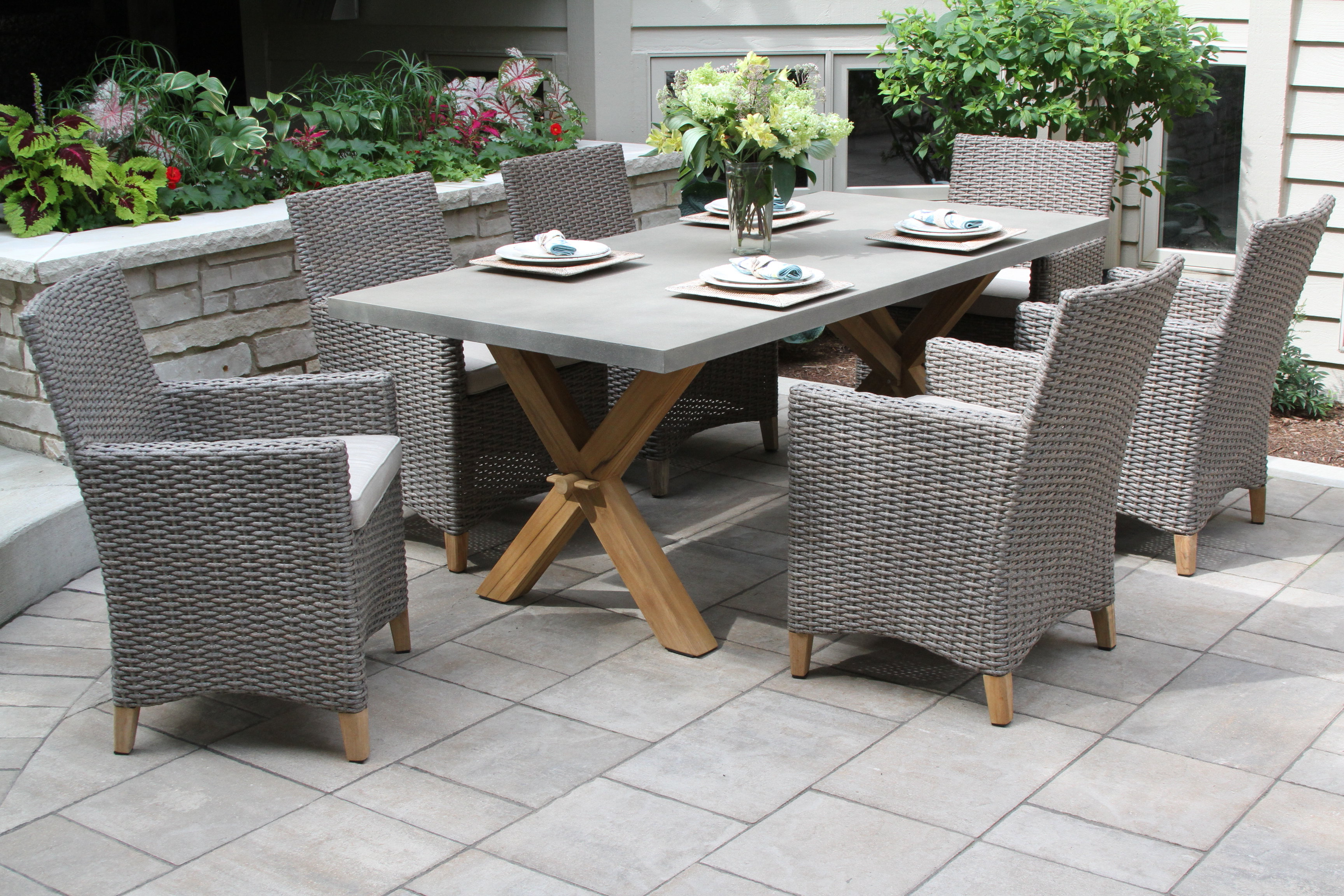 Rossi 5 Piece Dining Sets With Regard To Current Stedman 7 Piece Teak Dining Set With Sunbrella Cushions (Gallery 15 of 20)