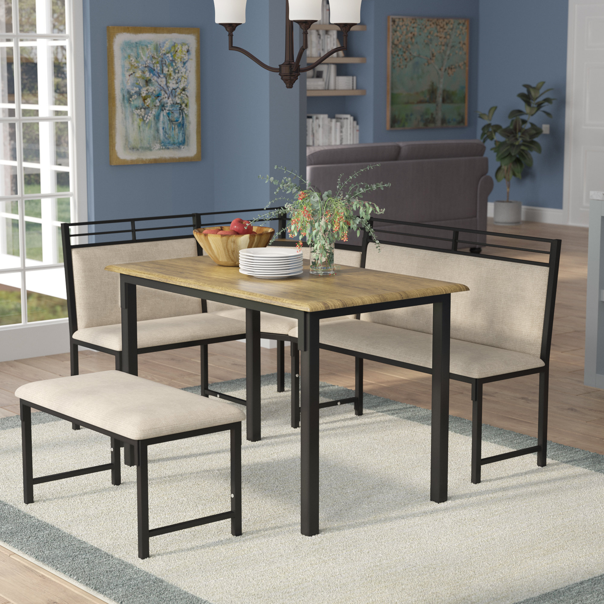 Rossiter 3 Piece Dining Sets With Famous Moonachie Corner 3 Piece Dining Set (View 13 of 20)