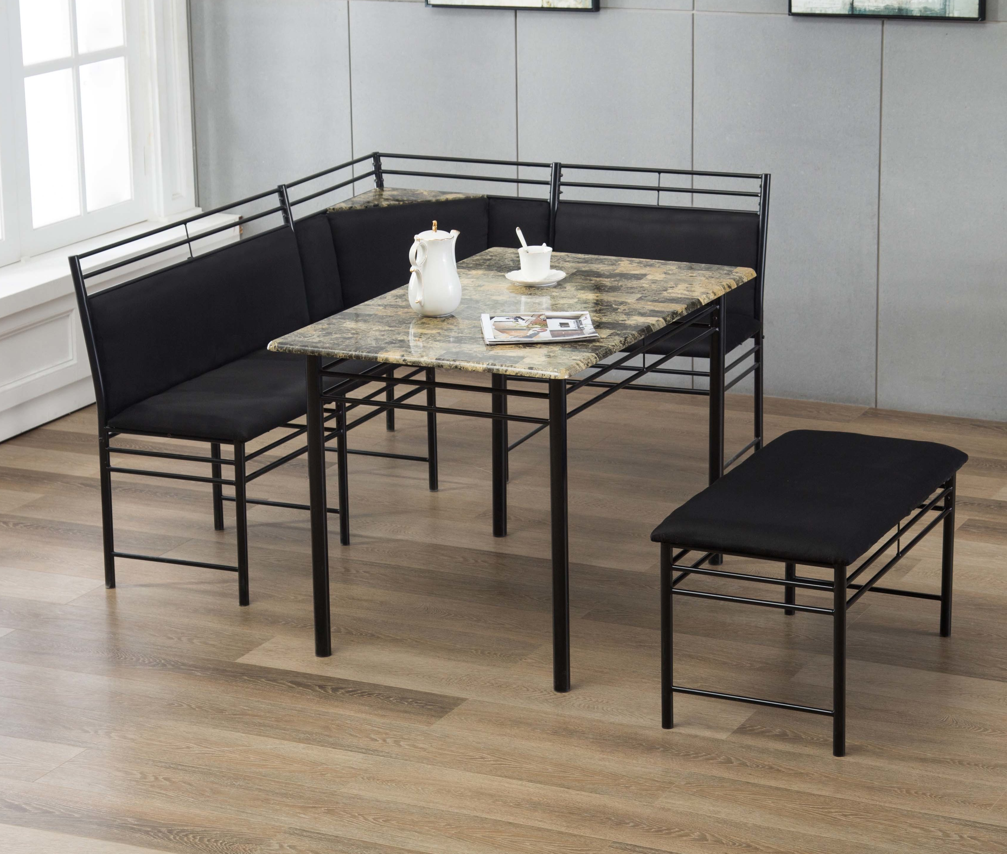 Ryker 3 Piece Dining Sets Within 2018 Tyrell 3 Piece Breakfast Nook Dining Set (View 16 of 20)