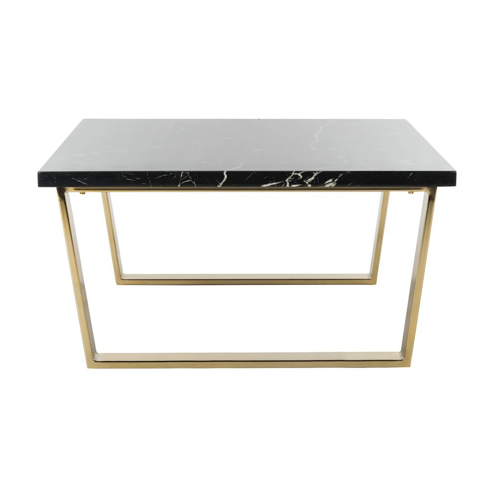 Safavieh Carmen Black Marble/brass Coffee Table Cof6201a – The Home For Popular Presson 3 Piece Counter Height Dining Sets (View 7 of 20)