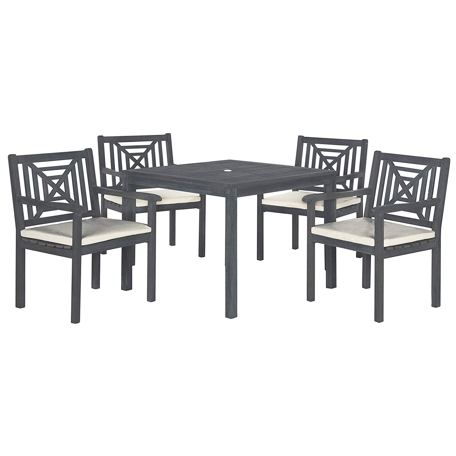 Safavieh Outdoor Living Collection Del Mar 5 Piece Dining Set, Ash Grey For Favorite Delmar 5 Piece Dining Sets (View 5 of 20)