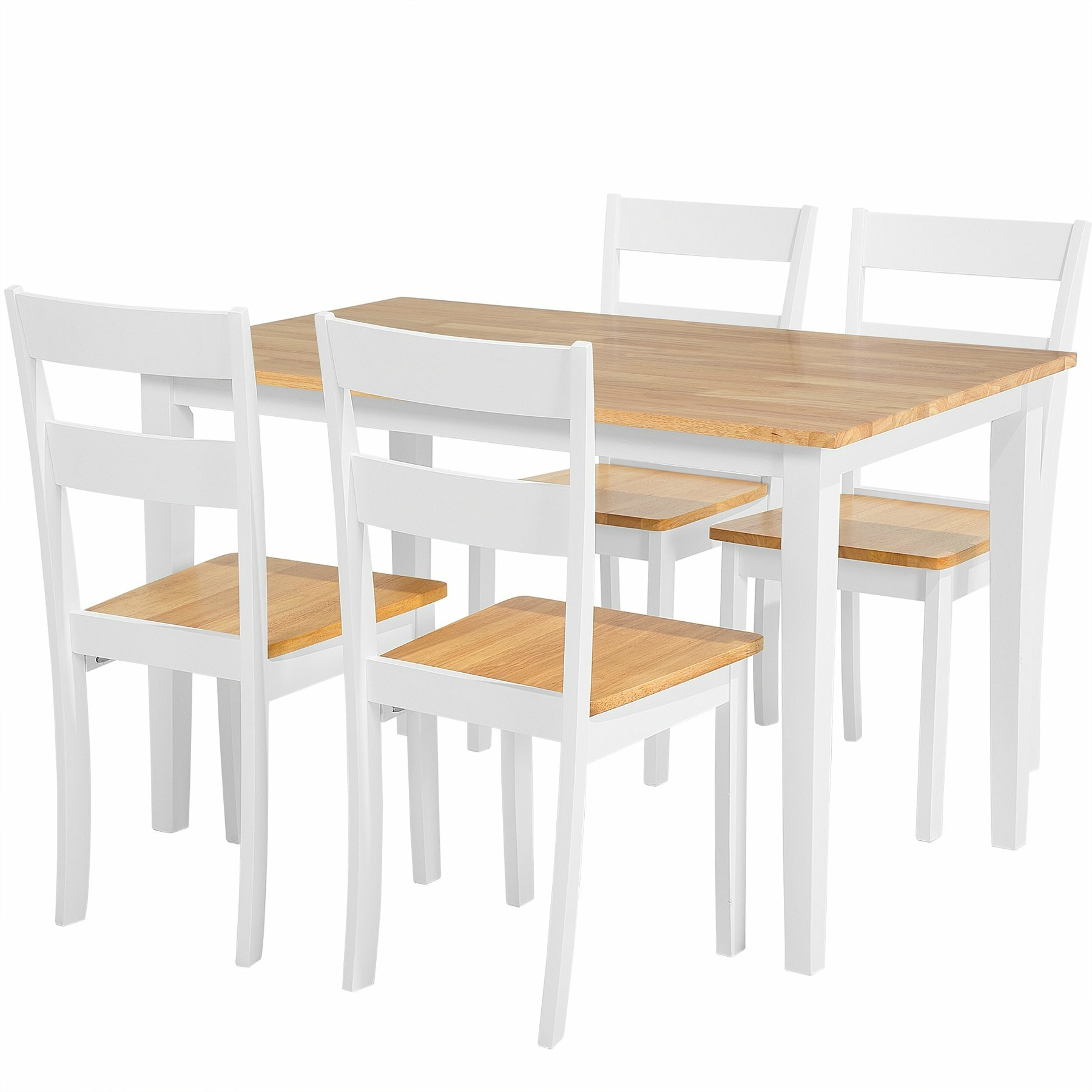 Seabrook 5 Piece Solid Wood Dining Set Inside Famous Yedinak 5 Piece Solid Wood Dining Sets (View 13 of 20)