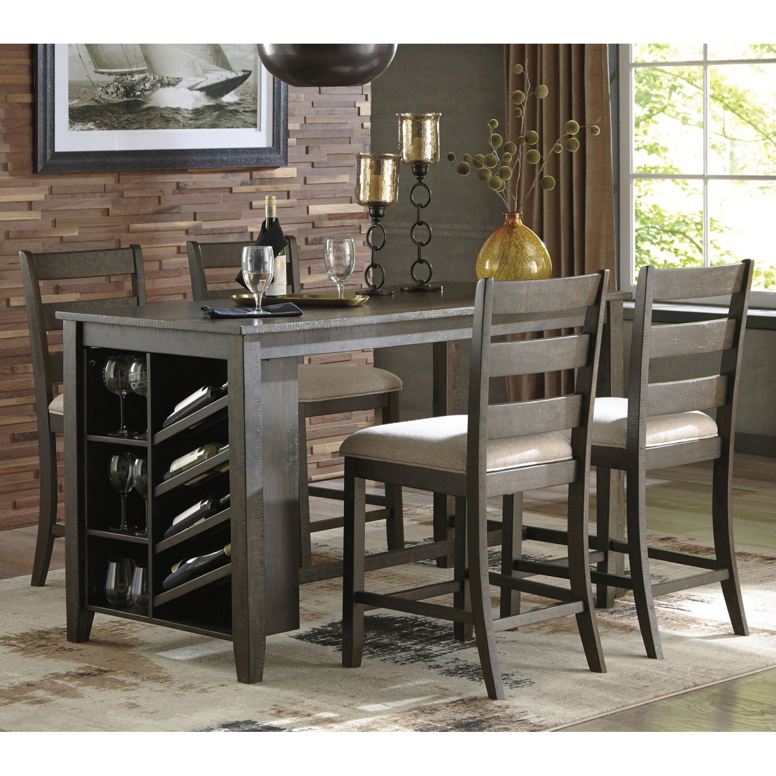 Signature Designashley Rokane 5 Piece Counter Height Dining Intended For Best And Newest Berrios 3 Piece Counter Height Dining Sets (View 18 of 20)