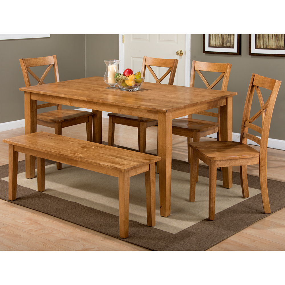 Simplicity Honey 6 Piece Dining Set – Table, 4 X Chairs & Bench With Widely Used Evellen 5 Piece Solid Wood Dining Sets (Set Of 5) (View 18 of 20)
