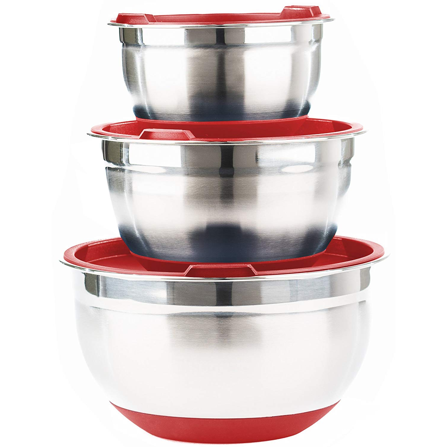 Stainless Steel Mixing Bowls With Lids (Set Of 3)Fitzroy And Fox, Red  Or Blue For 2018 Presson 3 Piece Counter Height Dining Sets (View 15 of 20)