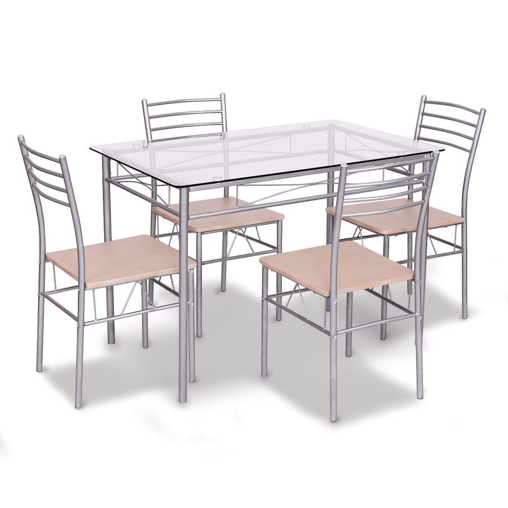 Stouferberg 5 Piece Dining Sets Throughout Well Liked Details About Dining Set Table Armless Chairs Tempered Glass Top (View 8 of 20)